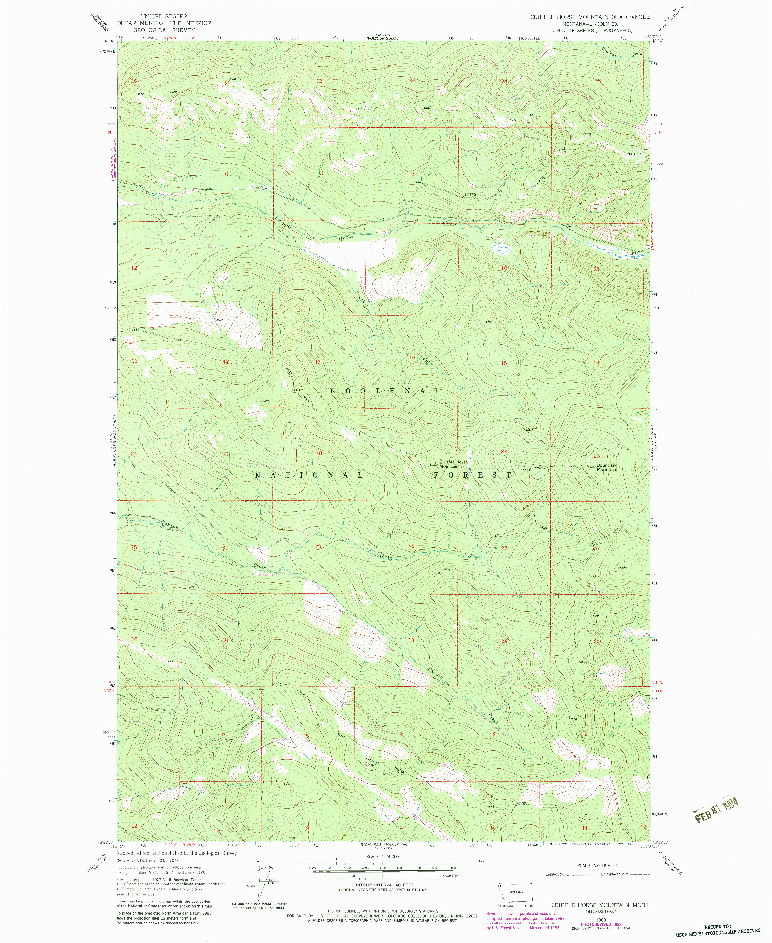 USGS 1:24000-SCALE QUADRANGLE FOR CRIPPLE HORSE MOUNTAIN, MT 1963