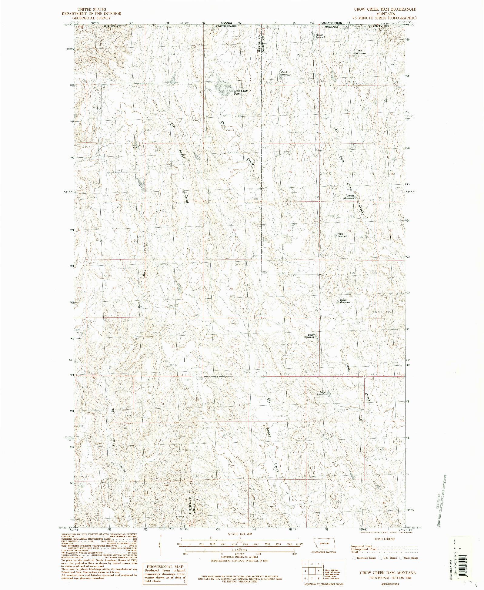 USGS 1:24000-SCALE QUADRANGLE FOR CROW CREEK DAM, MT 1984