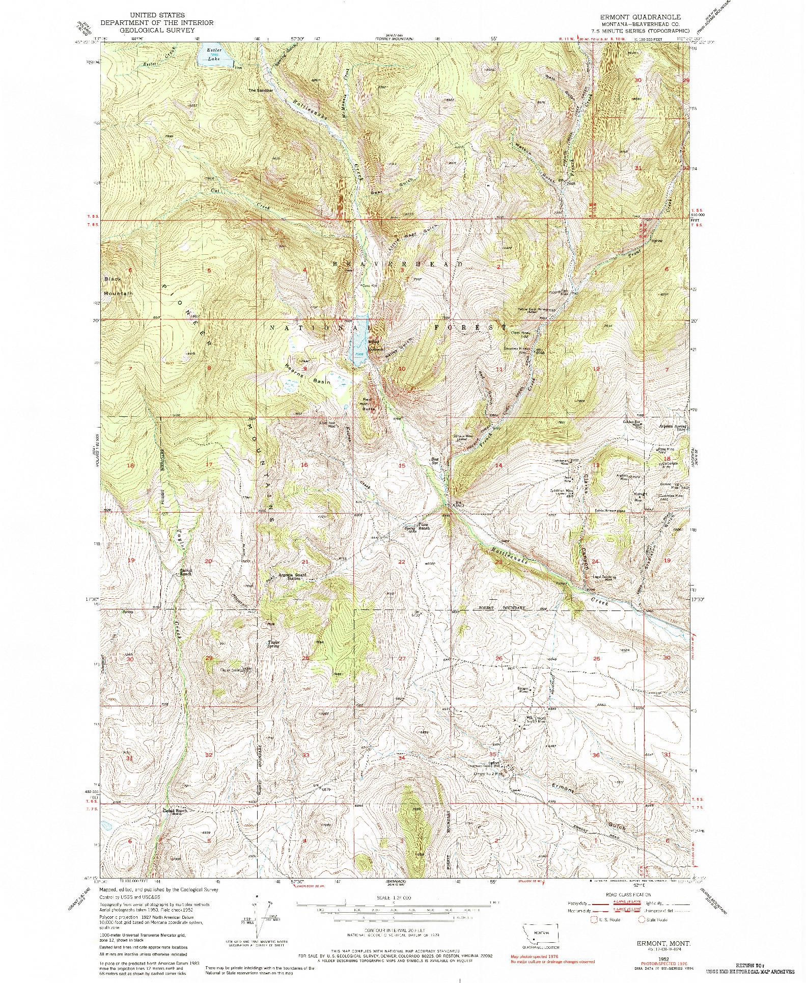 USGS 1:24000-SCALE QUADRANGLE FOR ERMONT, MT 1952