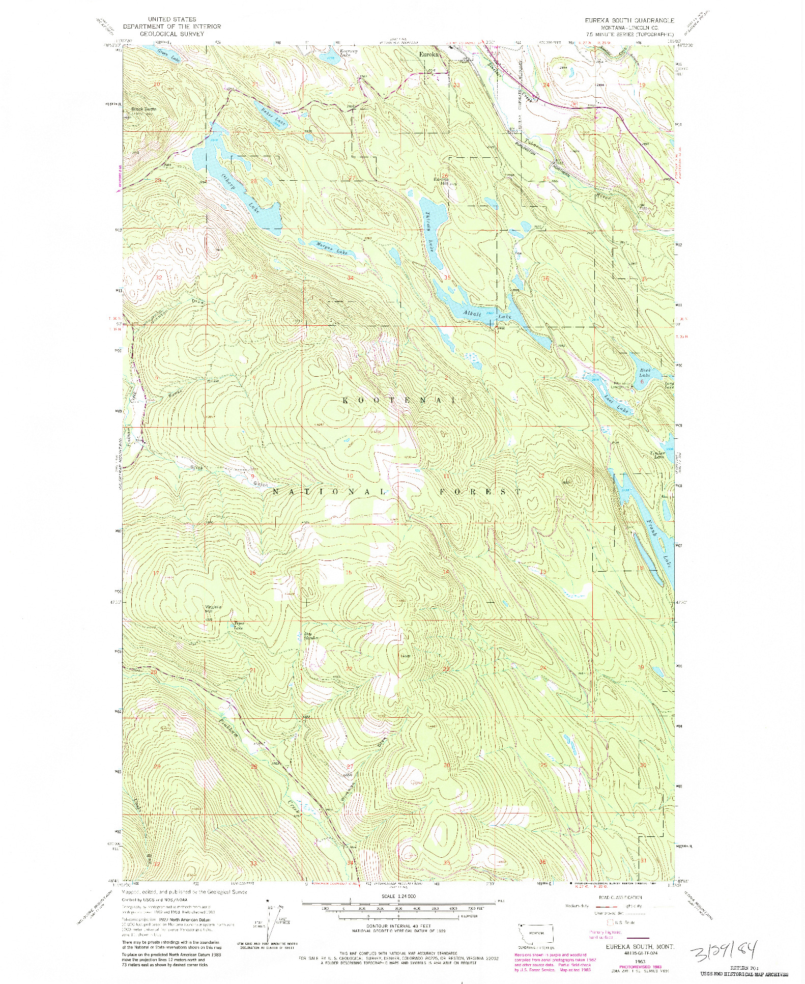 USGS 1:24000-SCALE QUADRANGLE FOR EUREKA SOUTH, MT 1963