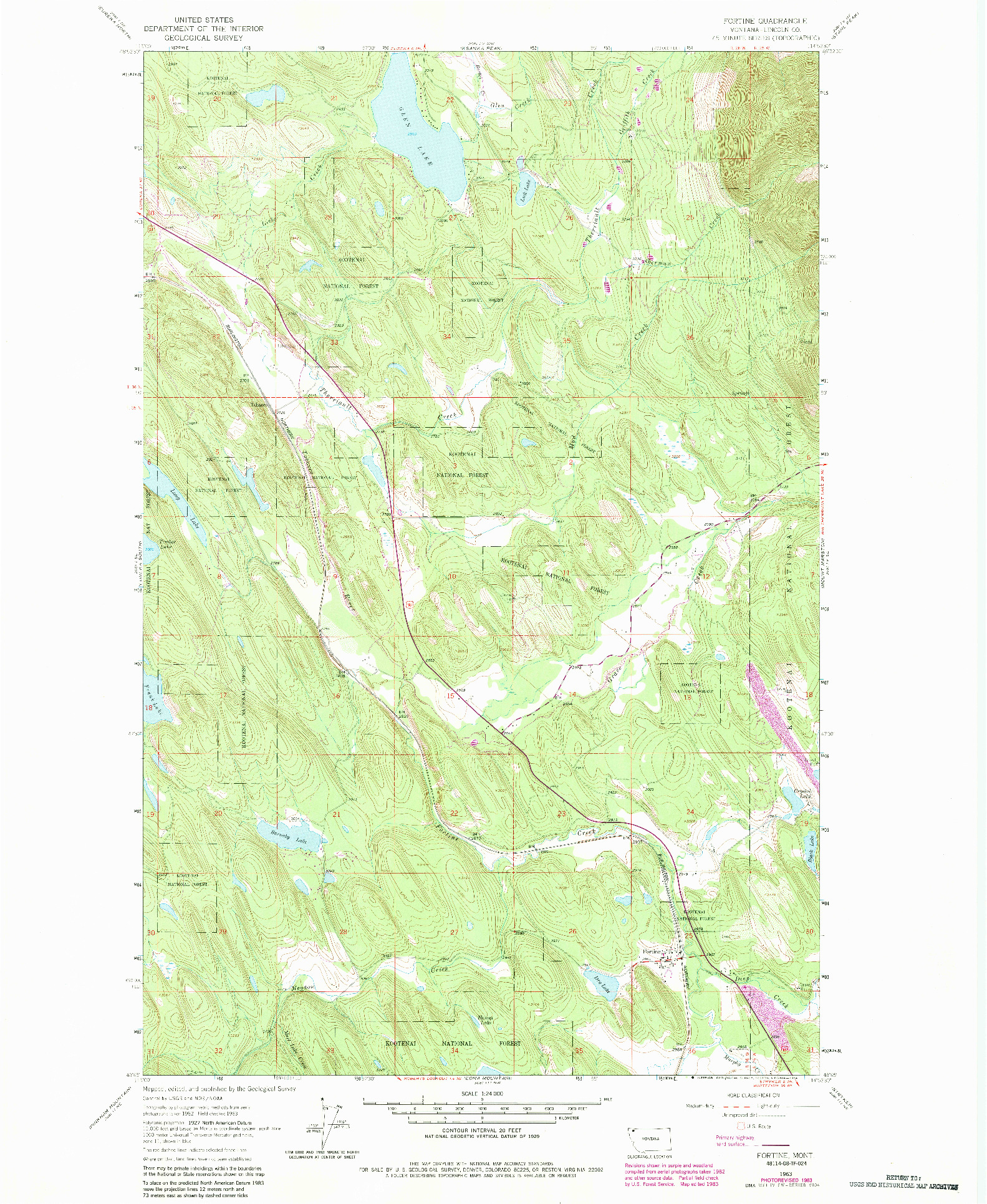 USGS 1:24000-SCALE QUADRANGLE FOR FORTINE, MT 1963