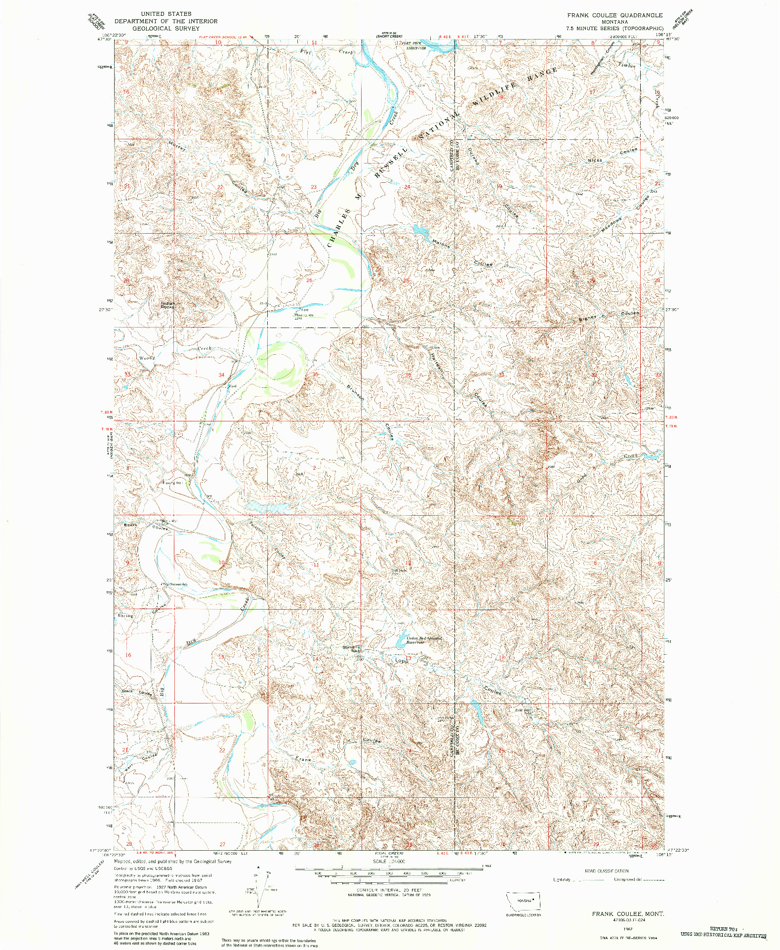 USGS 1:24000-SCALE QUADRANGLE FOR FRANK COULEE, MT 1967
