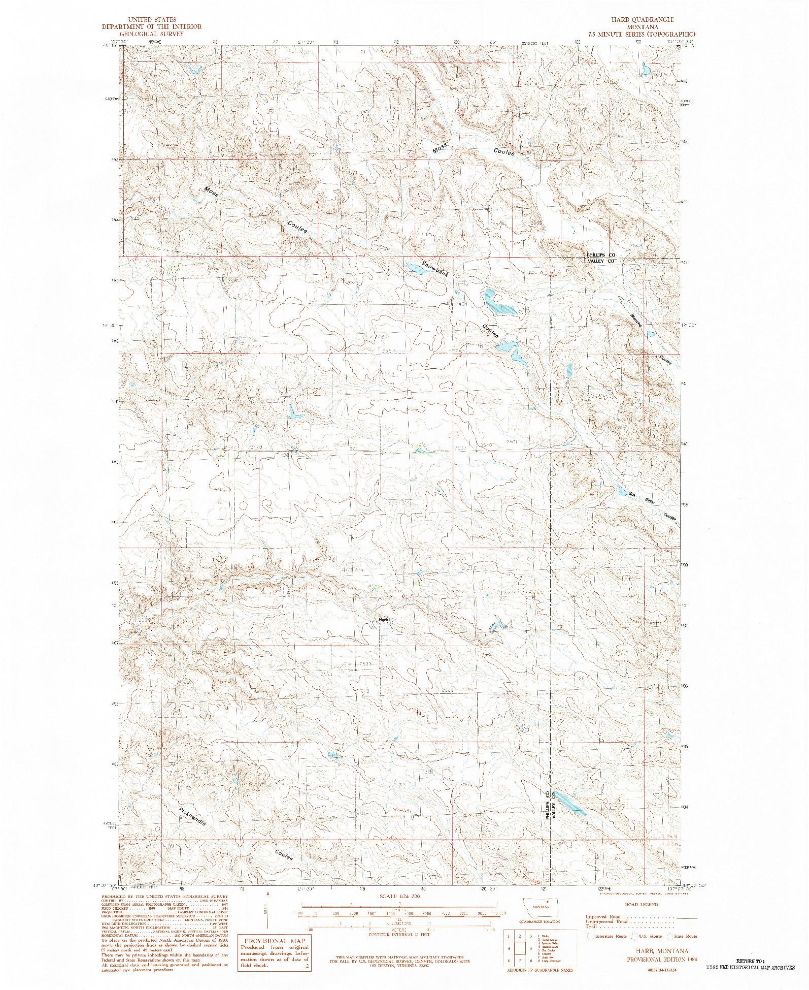 USGS 1:24000-SCALE QUADRANGLE FOR HARB, MT 1984