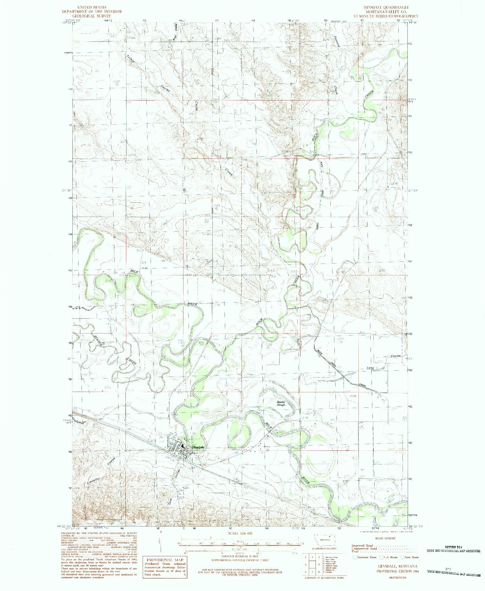 USGS 1:24000-SCALE QUADRANGLE FOR HINSDALE, MT 1984