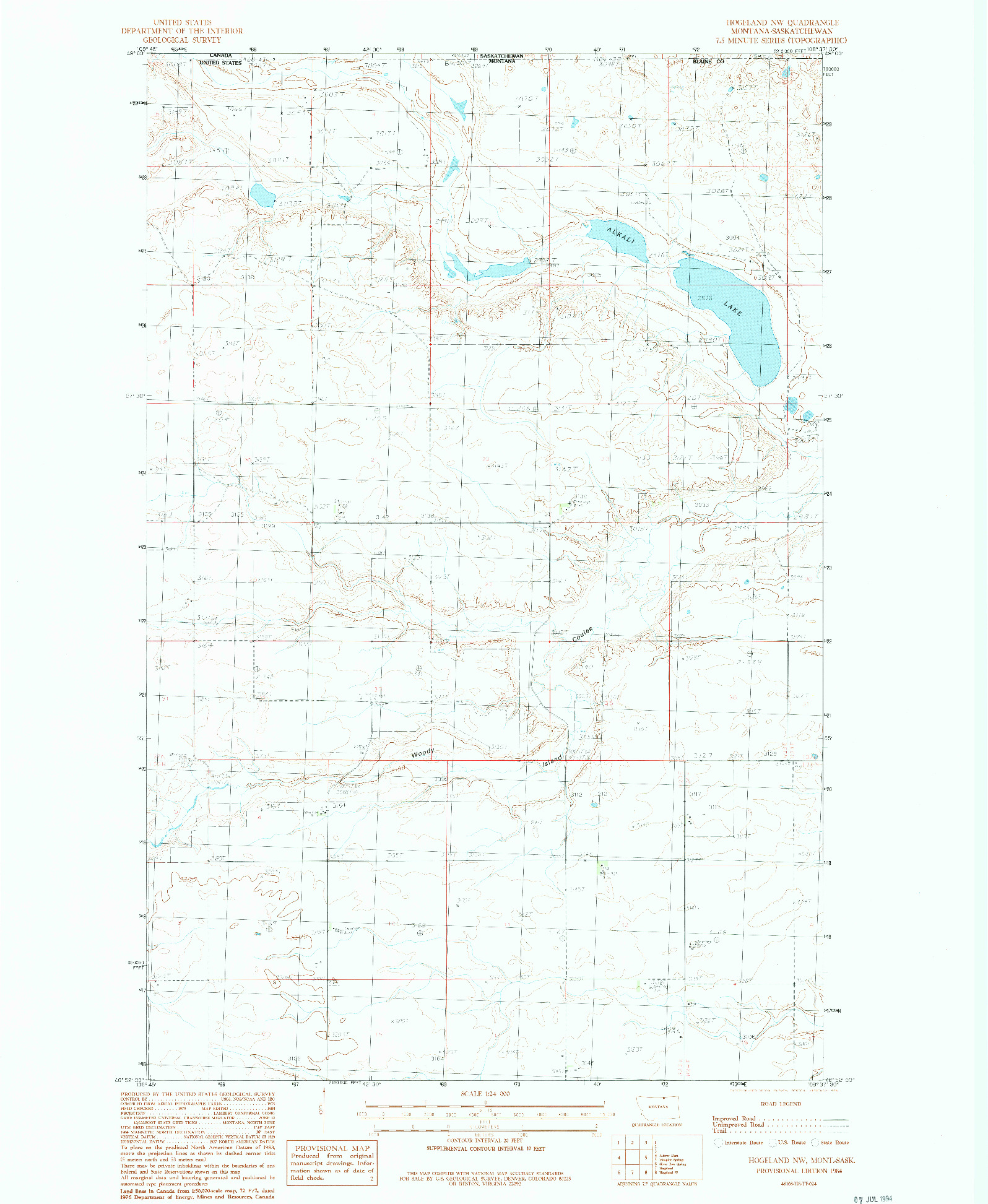 USGS 1:24000-SCALE QUADRANGLE FOR HOGELAND NW, MT 1984