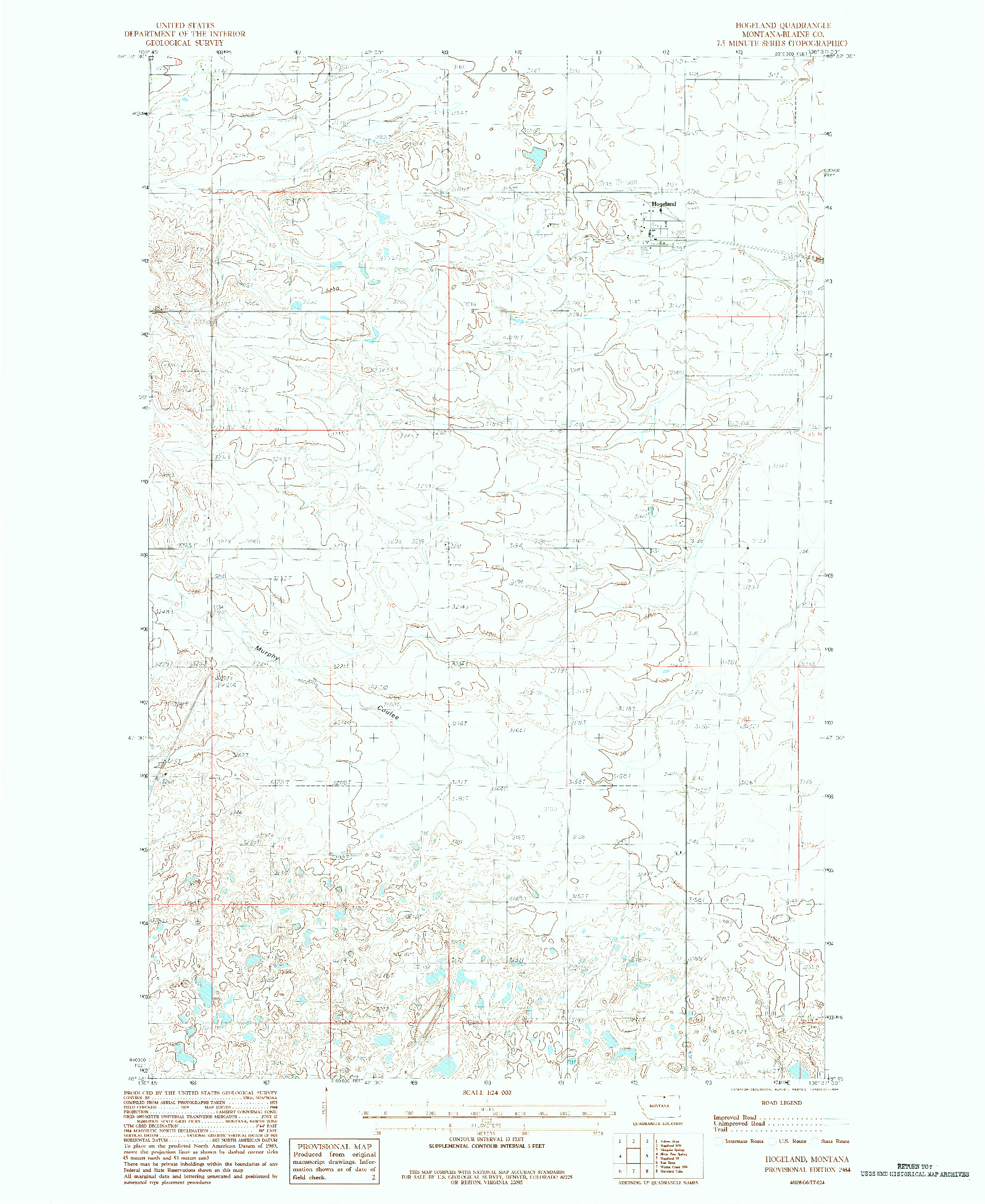 USGS 1:24000-SCALE QUADRANGLE FOR HOGELAND, MT 1984