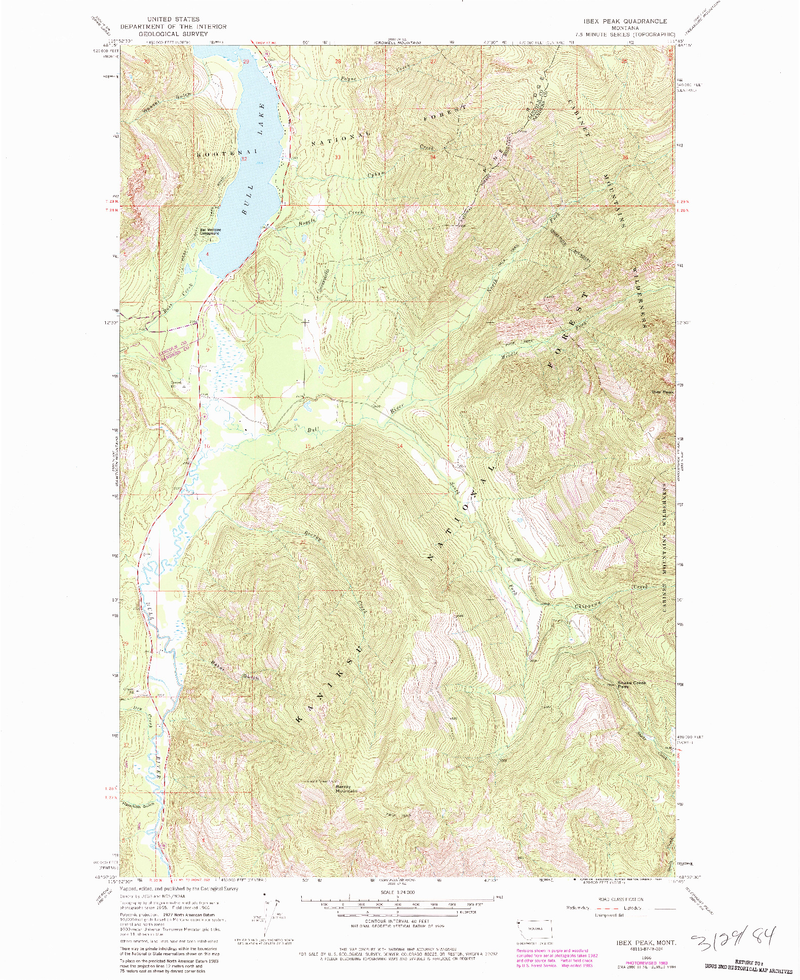 USGS 1:24000-SCALE QUADRANGLE FOR IBEX PEAK, MT 1966