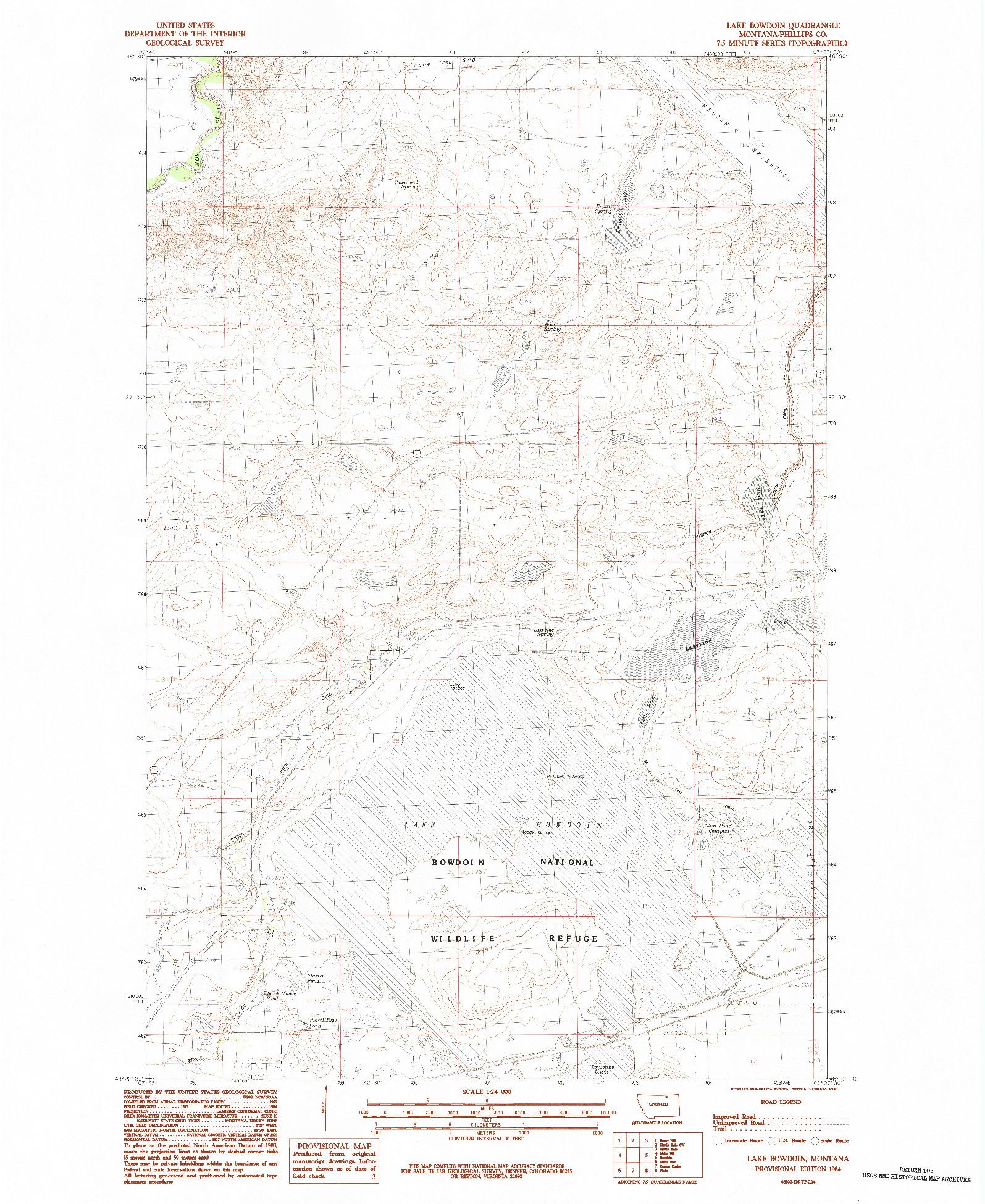 USGS 1:24000-SCALE QUADRANGLE FOR LAKE BOWDOIN, MT 1984