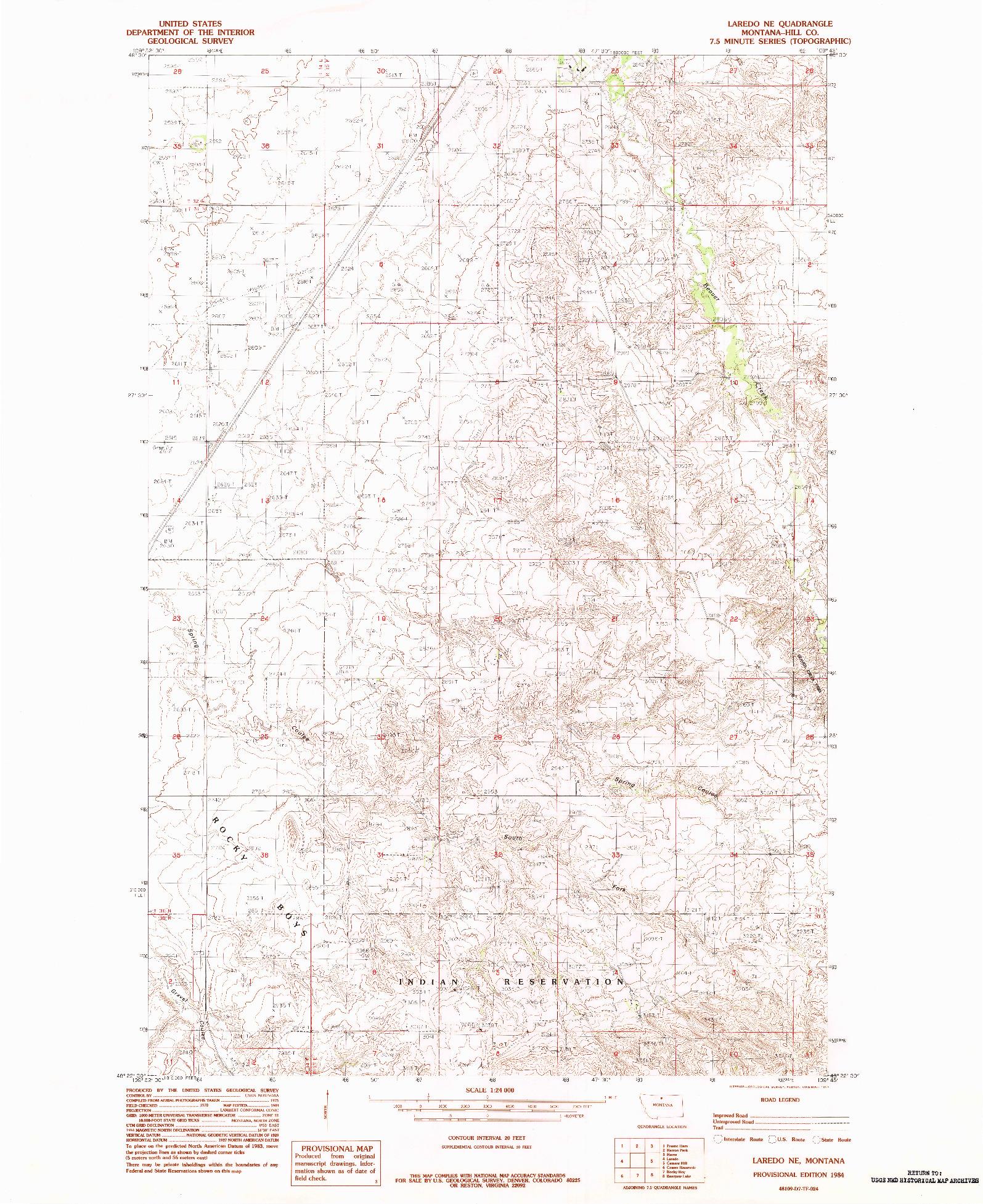 USGS 1:24000-SCALE QUADRANGLE FOR LAREDO NE, MT 1984