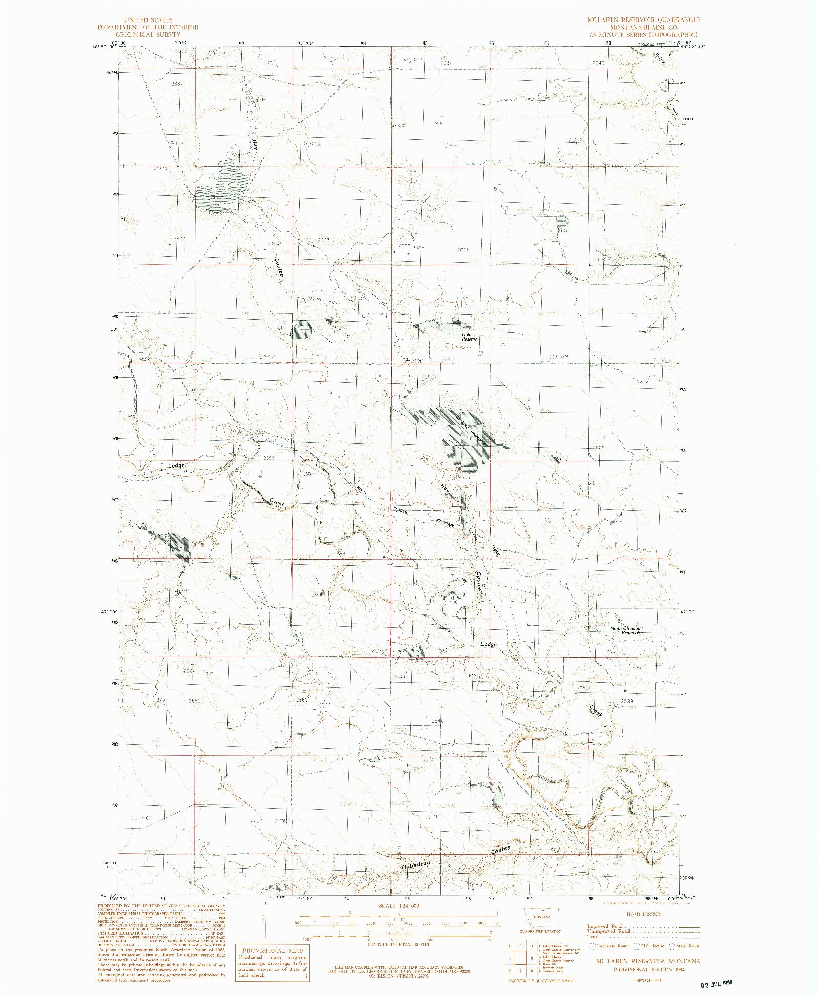 USGS 1:24000-SCALE QUADRANGLE FOR MC LAREN RESERVOIR, MT 1984