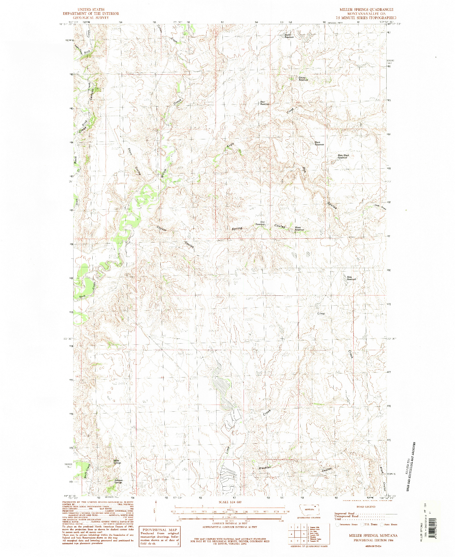 USGS 1:24000-SCALE QUADRANGLE FOR MILLER SPRINGS, MT 1984