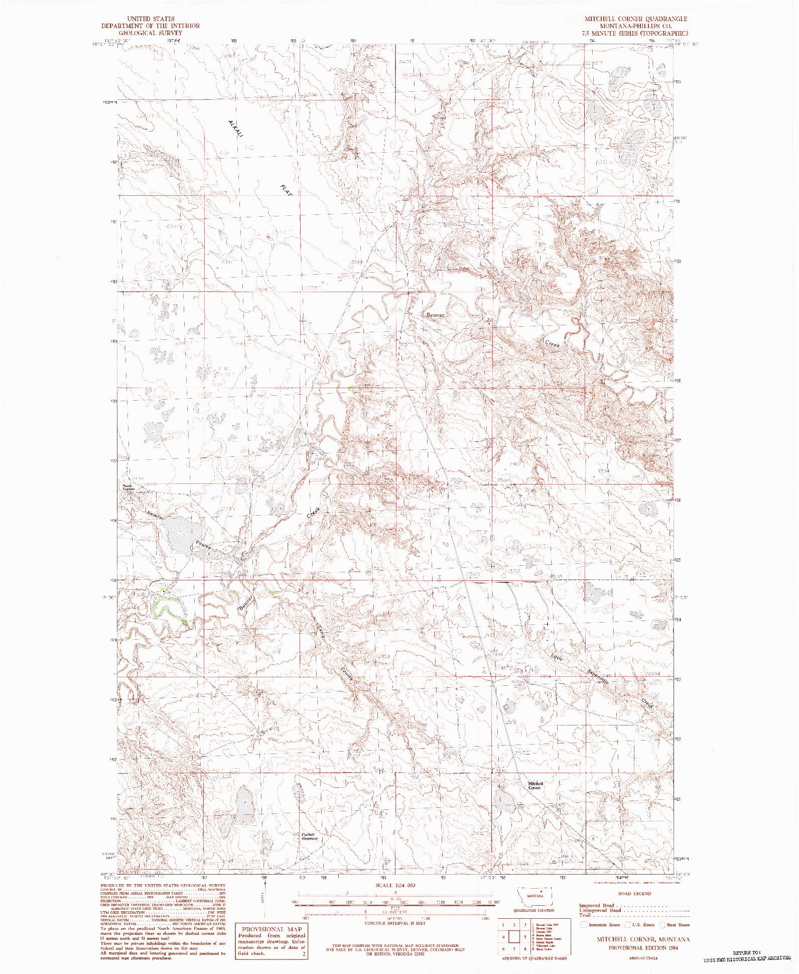 USGS 1:24000-SCALE QUADRANGLE FOR MITCHELL CORNER, MT 1984