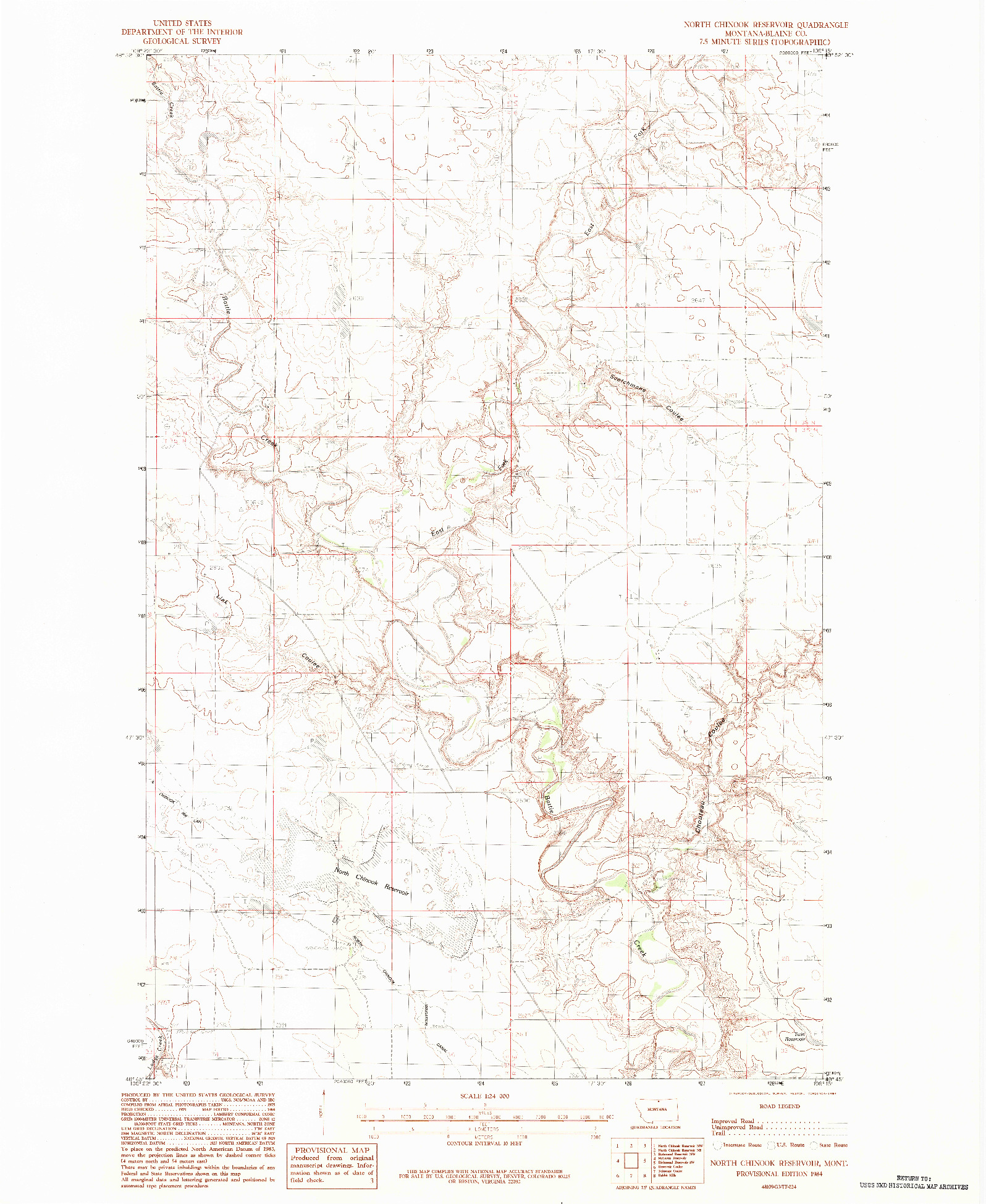 USGS 1:24000-SCALE QUADRANGLE FOR NORTH CHINOOK RESERVOIR, MT 1984