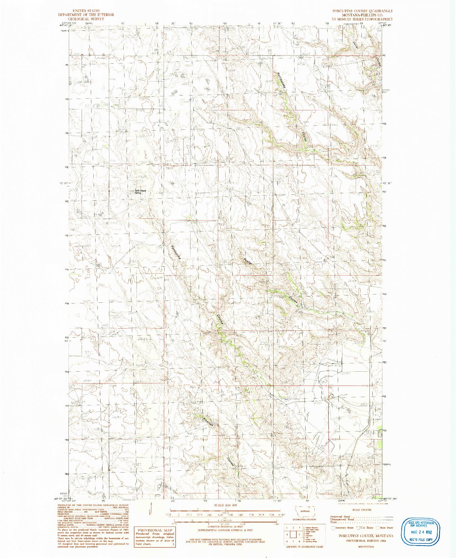 USGS 1:24000-SCALE QUADRANGLE FOR PORCUPINE COULEE, MT 1984