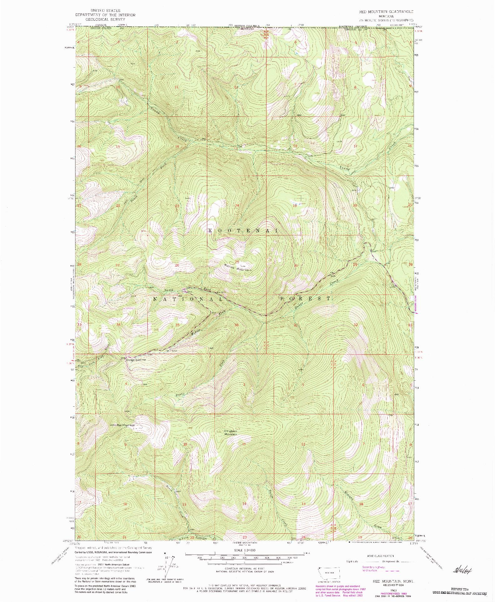 USGS 1:24000-SCALE QUADRANGLE FOR RED MOUNTAIN, MT 1963