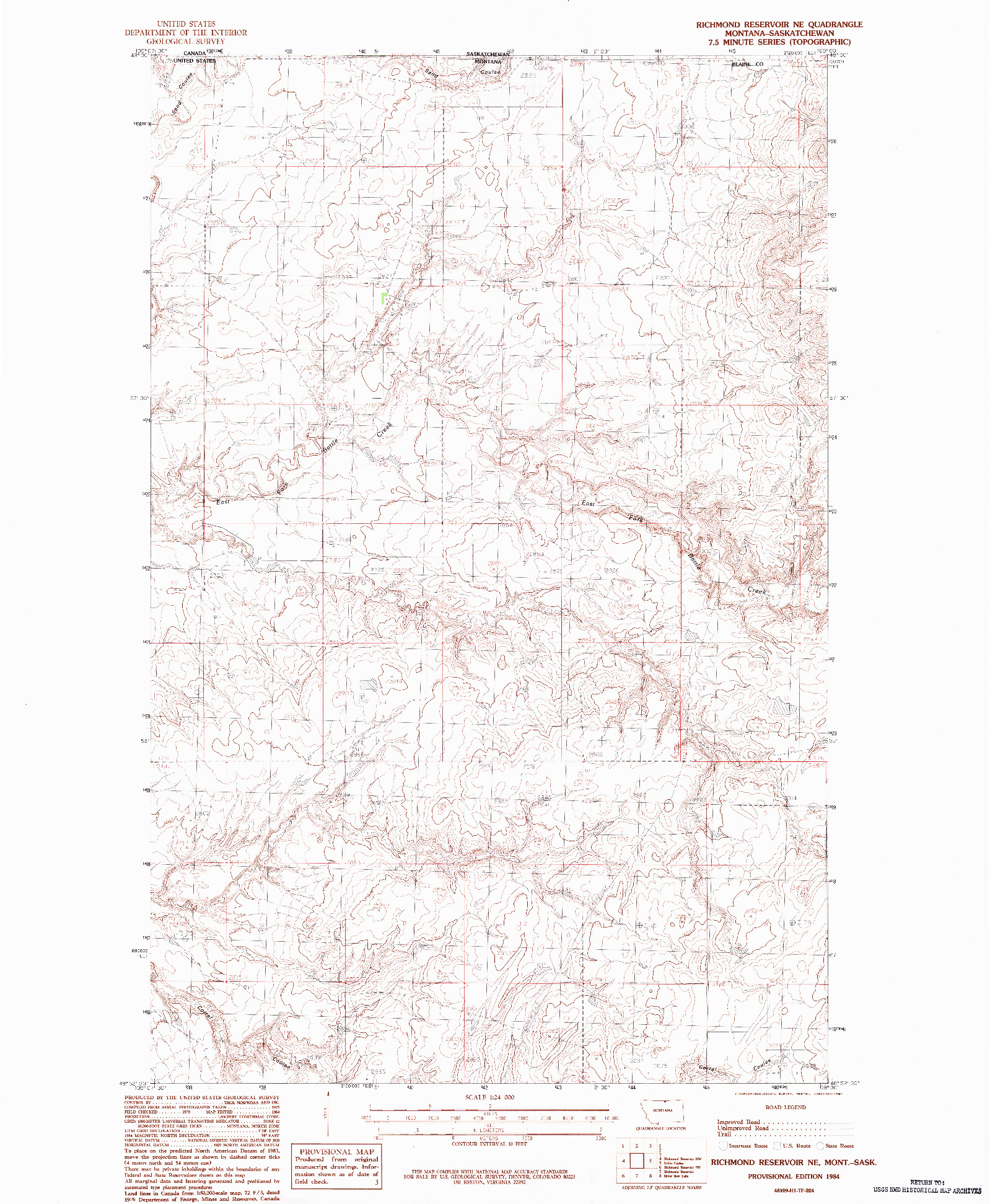 USGS 1:24000-SCALE QUADRANGLE FOR RICHMOND RESERVOIR NE, MT 1984