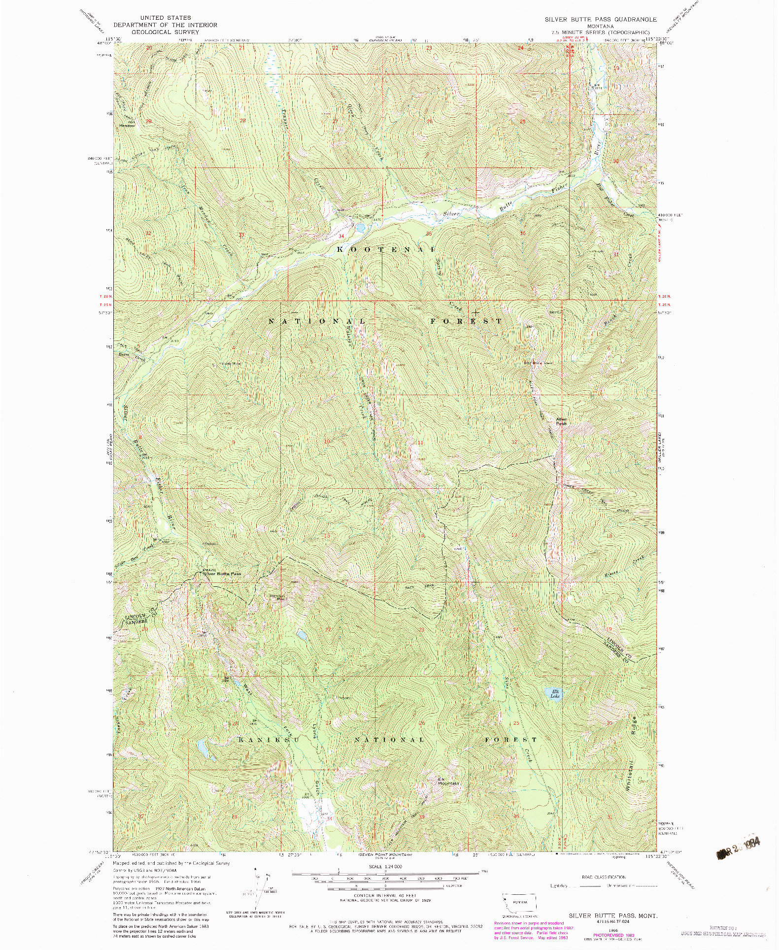 USGS 1:24000-SCALE QUADRANGLE FOR SILVER BUTTE PASS, MT 1966