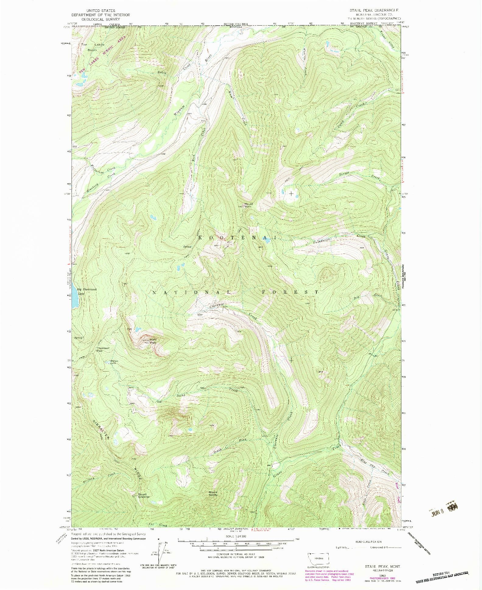 USGS 1:24000-SCALE QUADRANGLE FOR STAHL PEAK, MT 1963
