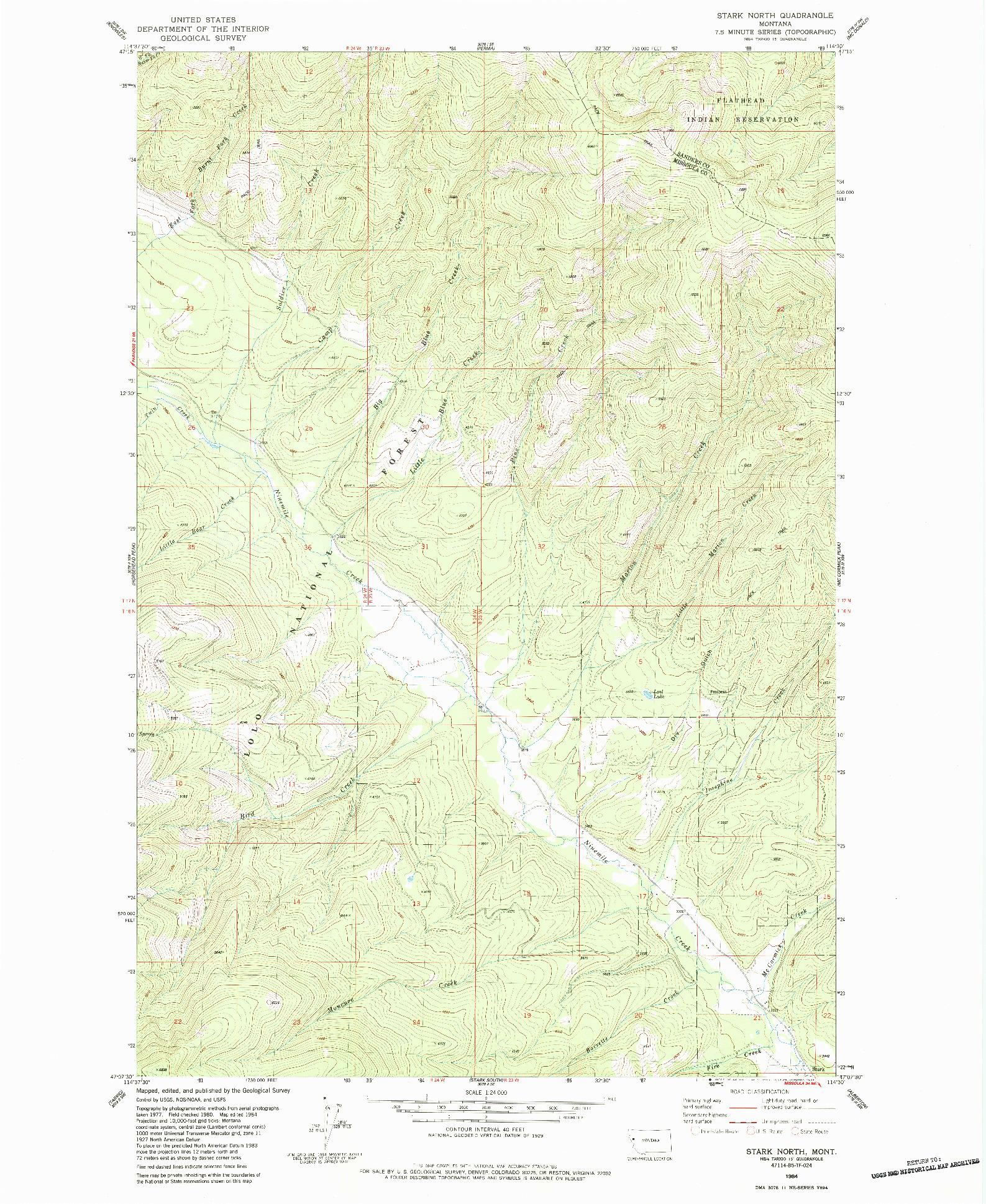 USGS 1:24000-SCALE QUADRANGLE FOR STARK NORTH, MT 1984