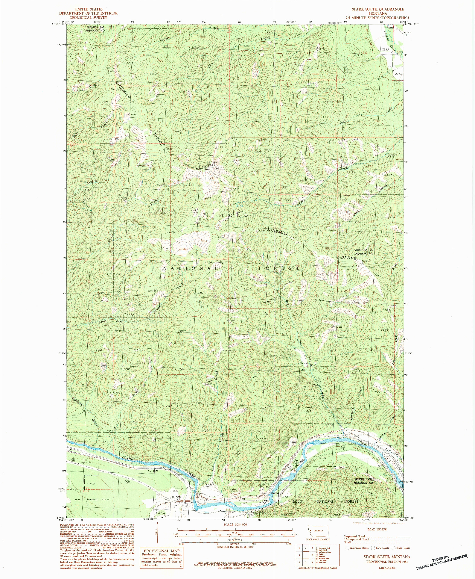 USGS 1:24000-SCALE QUADRANGLE FOR STARK SOUTH, MT 1983
