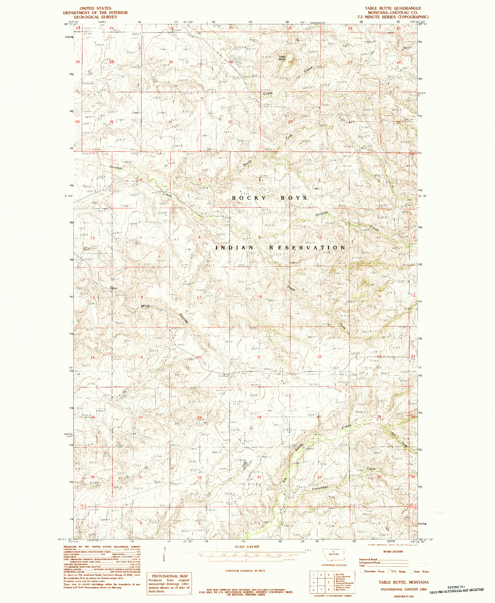 USGS 1:24000-SCALE QUADRANGLE FOR TABLE BUTTE, MT 1984