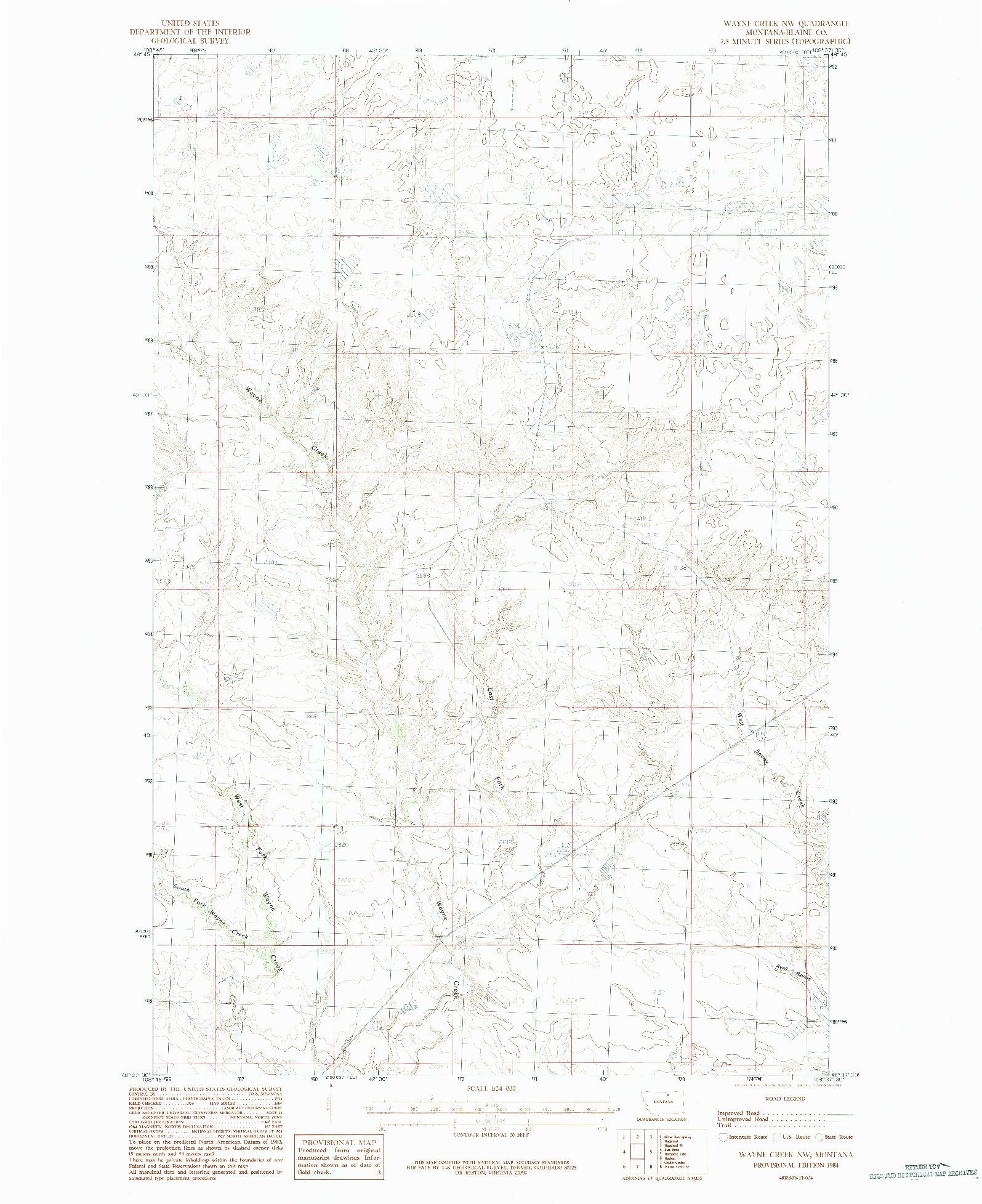 USGS 1:24000-SCALE QUADRANGLE FOR WAYNE CREEK NW, MT 1984