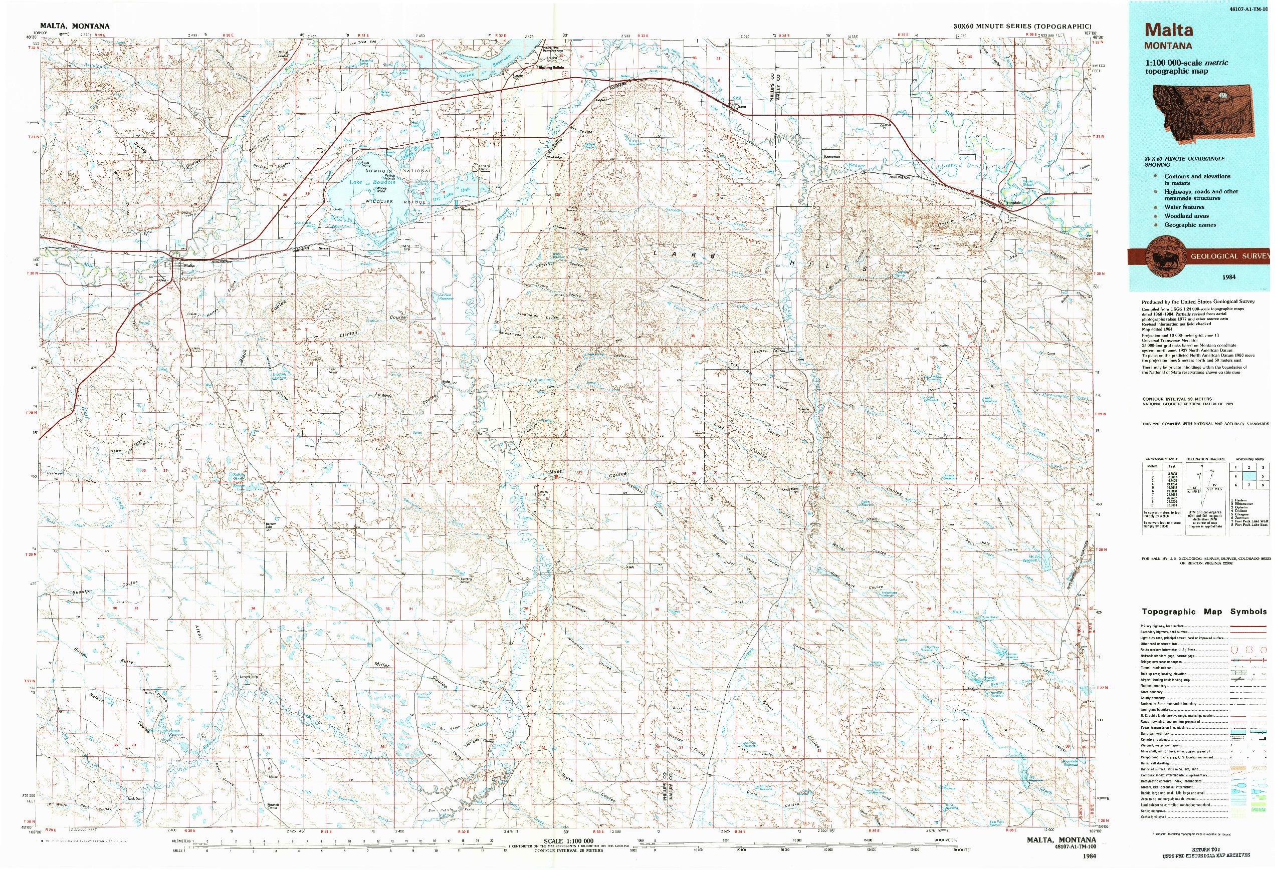 USGS 1:100000-SCALE QUADRANGLE FOR MALTA, MT 1984