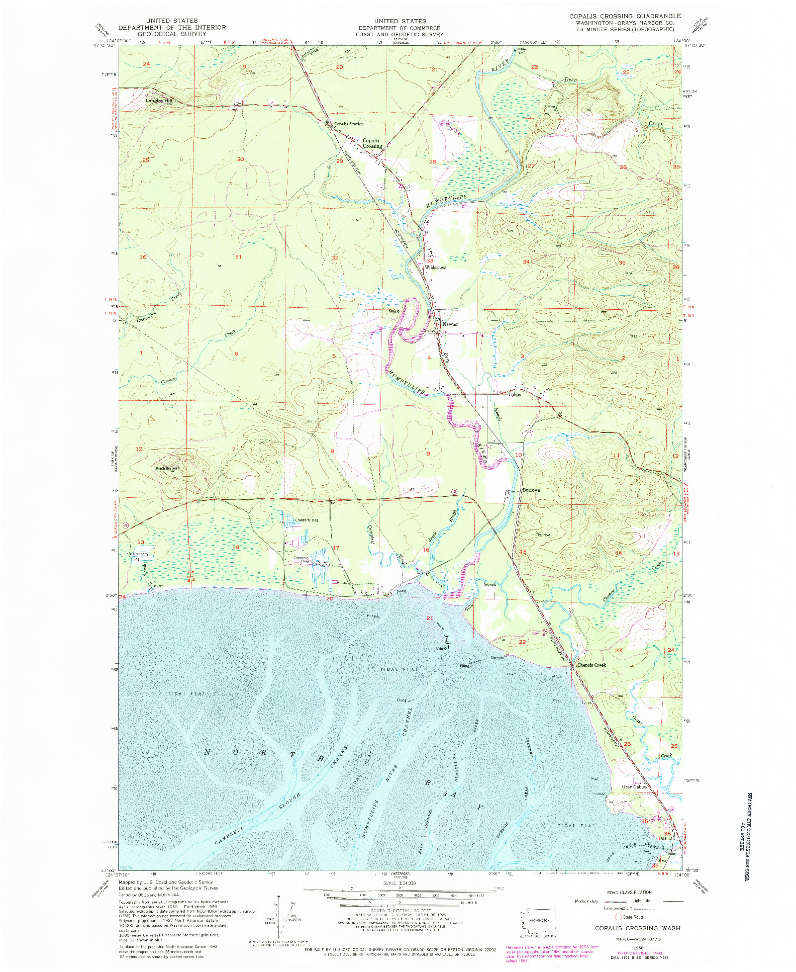 USGS 1:24000-SCALE QUADRANGLE FOR COPALIS CROSSING, WA 1956