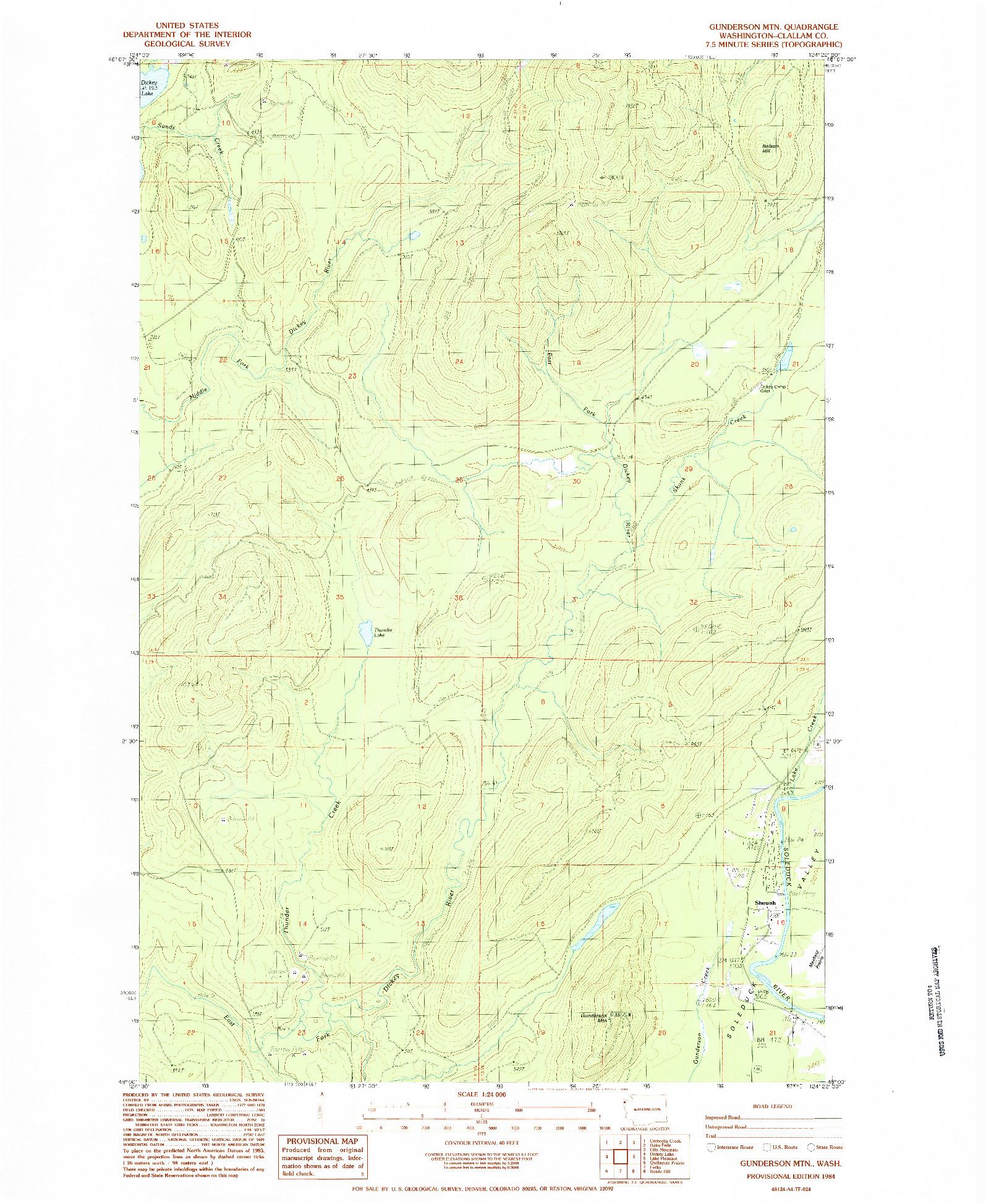 USGS 1:24000-SCALE QUADRANGLE FOR GUNDERSON MTN, WA 1984