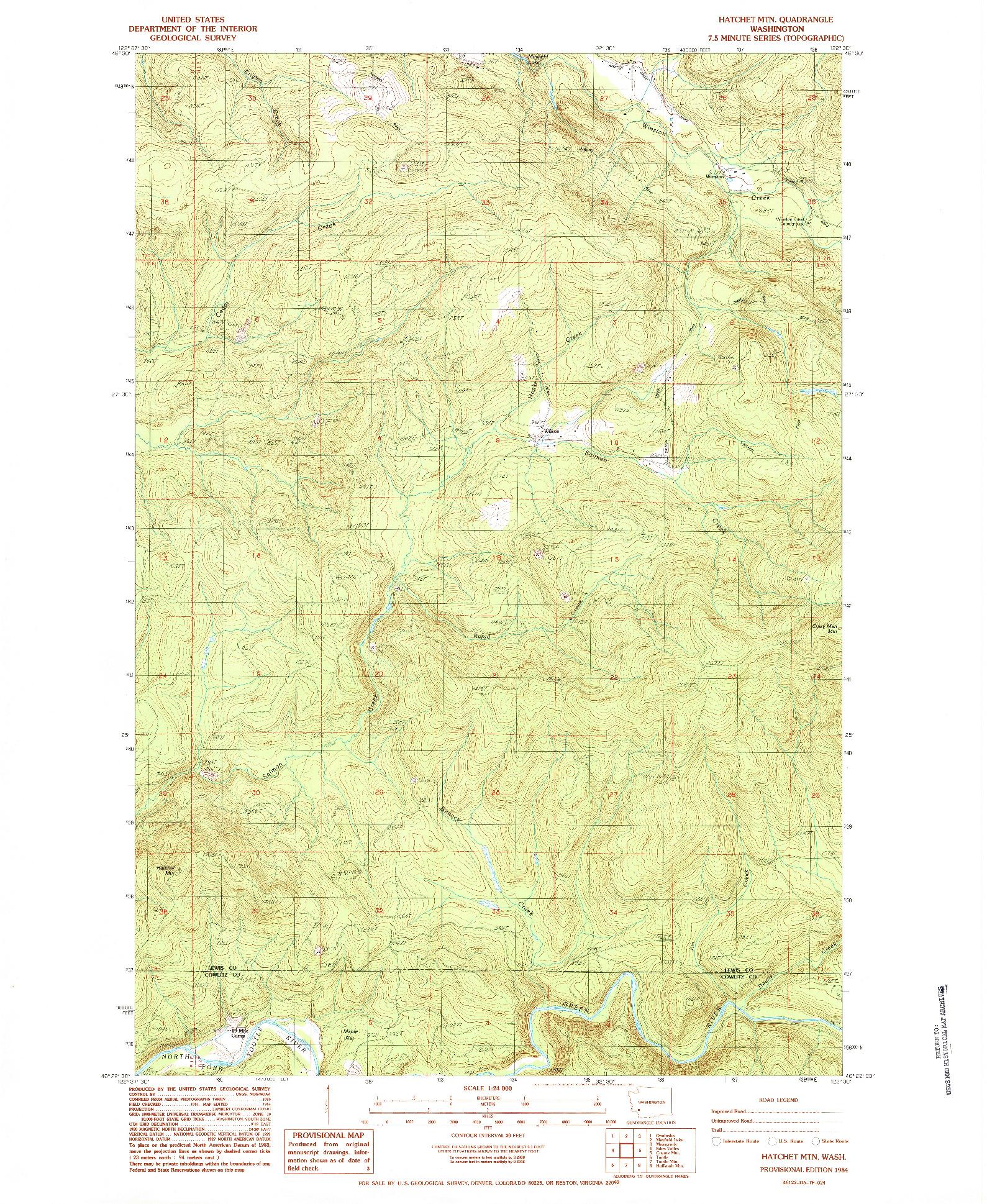 USGS 1:24000-SCALE QUADRANGLE FOR HATCHET MTN, WA 1984