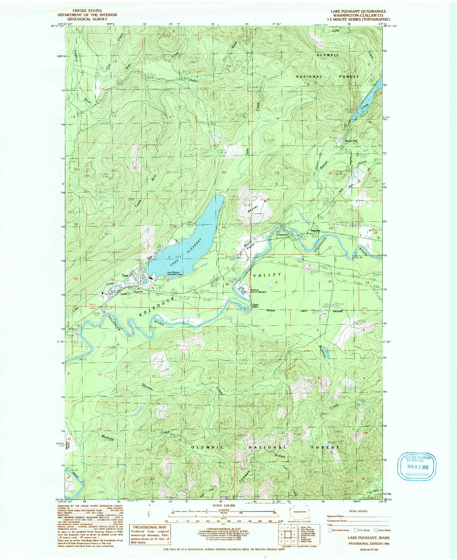 USGS 1:24000-SCALE QUADRANGLE FOR LAKE PLEASANT, WA 1984