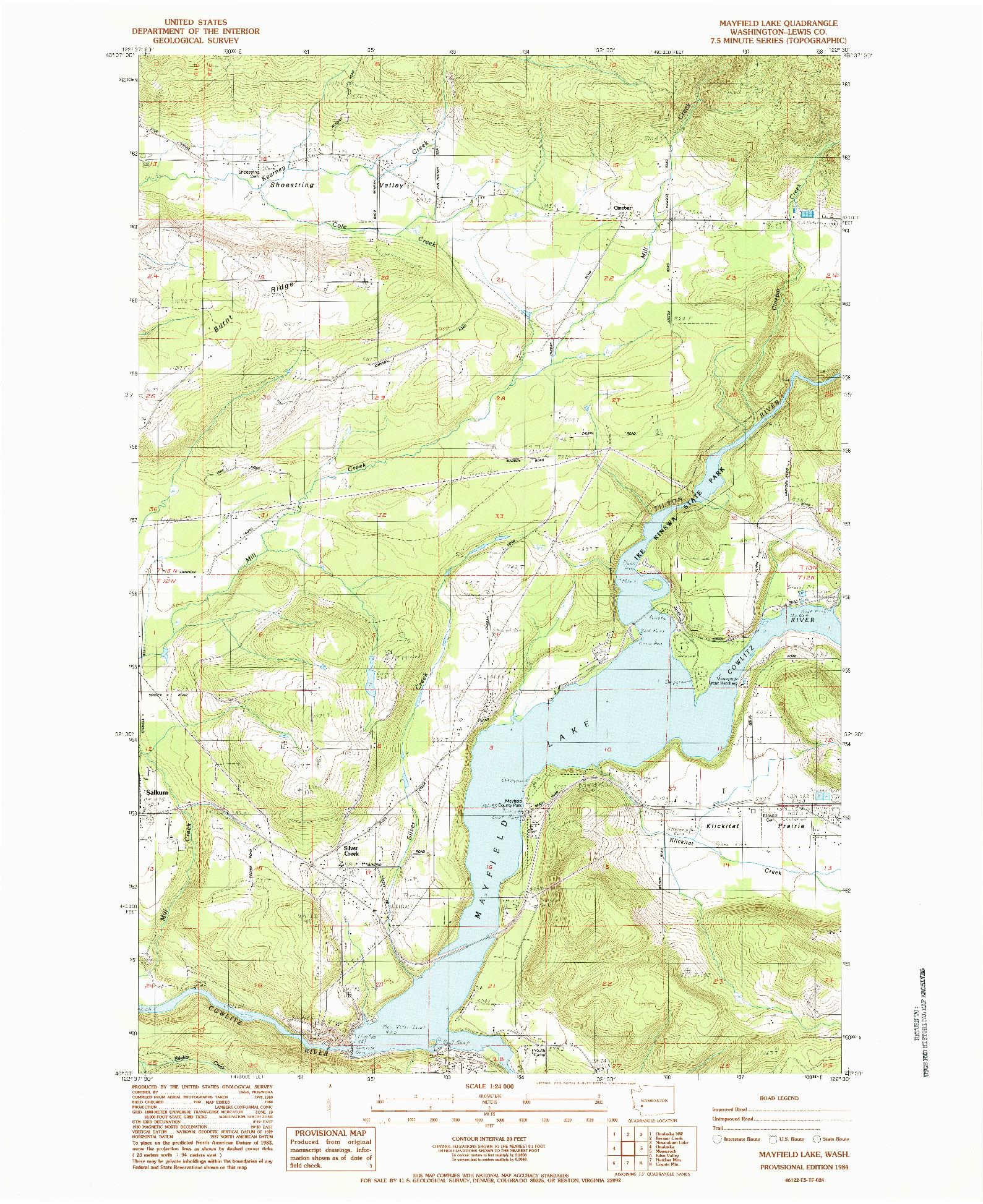 USGS 1:24000-SCALE QUADRANGLE FOR MAYFIELD LAKE, WA 1984