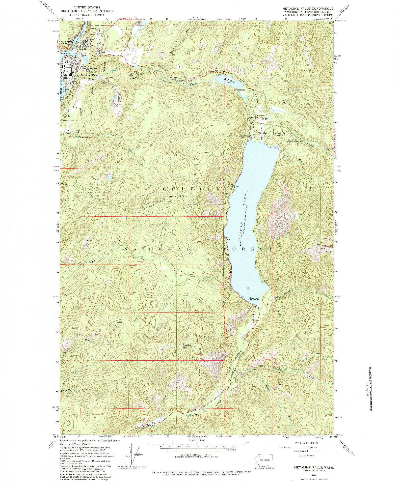 USGS 1:24000-SCALE QUADRANGLE FOR METALINE FALLS, WA 1967