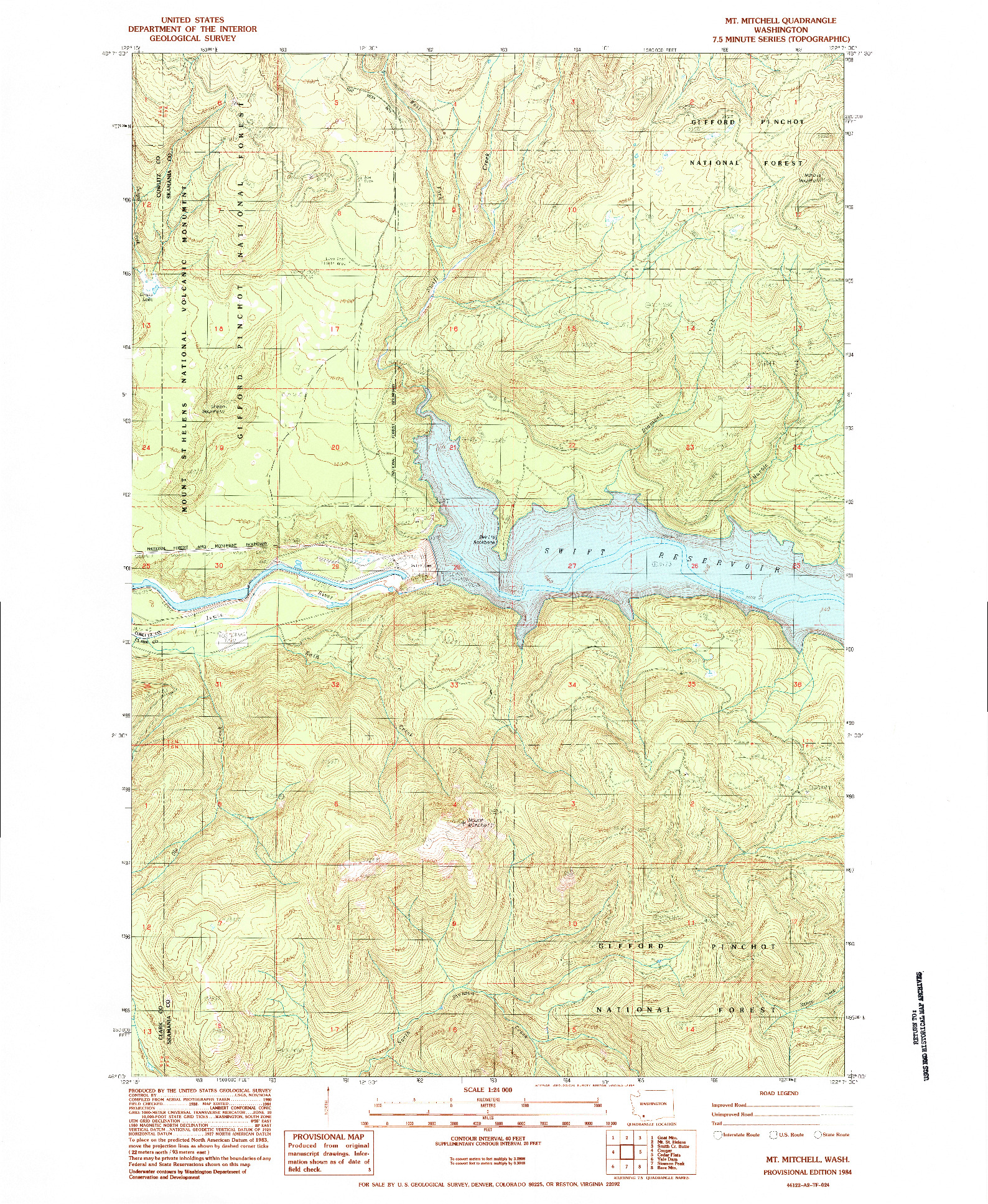 USGS 1:24000-SCALE QUADRANGLE FOR MT MITCHELL, WA 1984