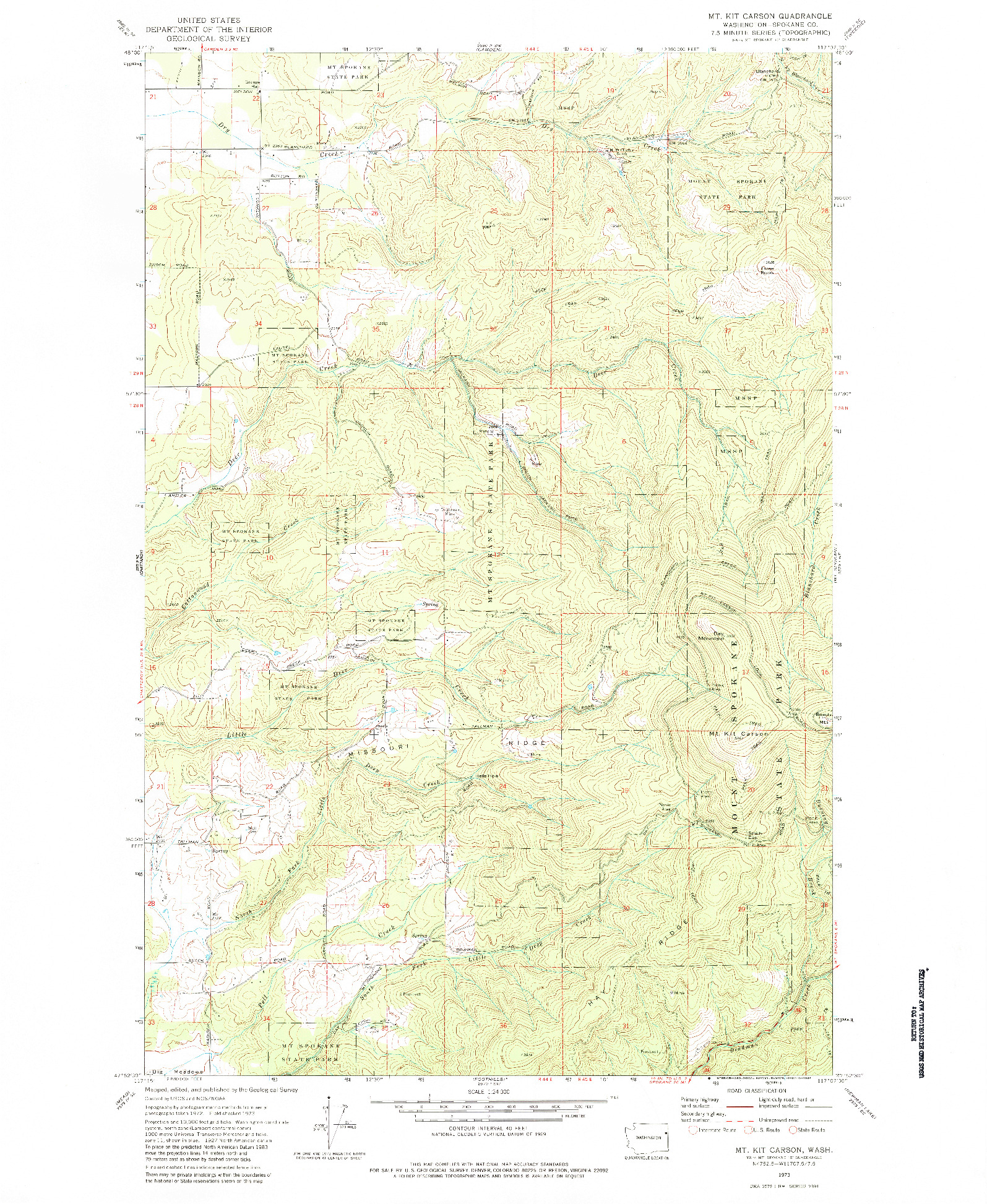 USGS 1:24000-SCALE QUADRANGLE FOR MT. KIT CARSON, WA 1973