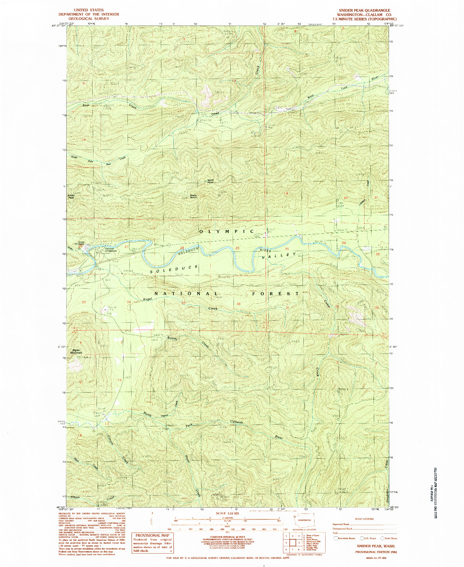 USGS 1:24000-SCALE QUADRANGLE FOR SNIDER PEAK, WA 1984