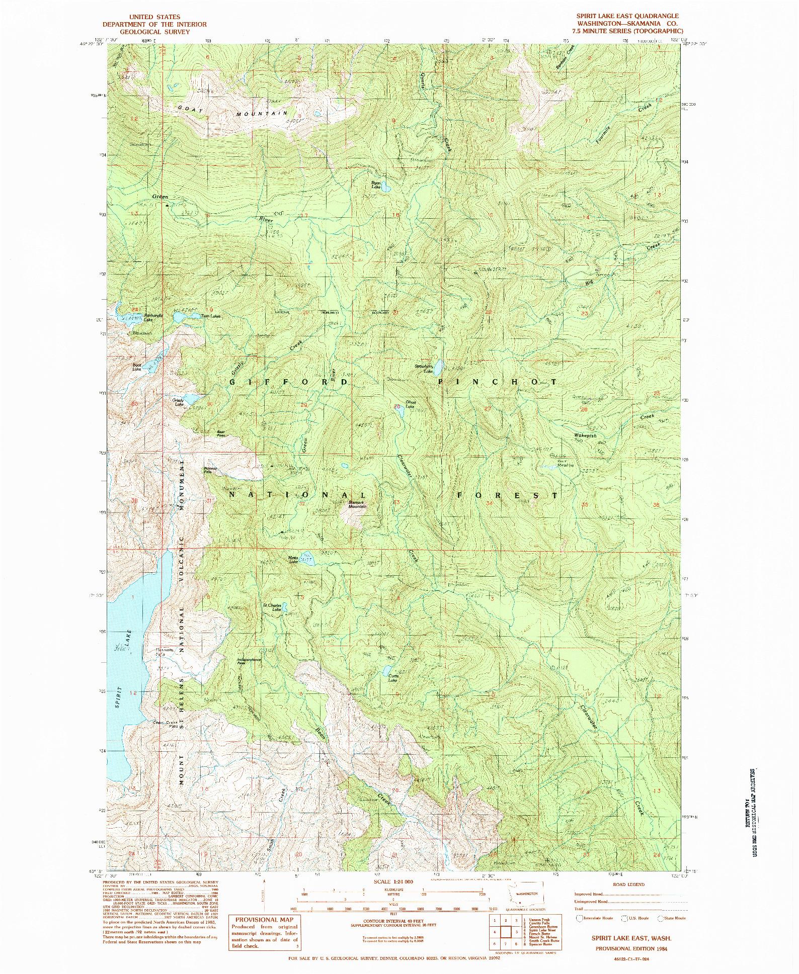 USGS 1:24000-SCALE QUADRANGLE FOR SPIRIT LAKE EAST, WA 1984