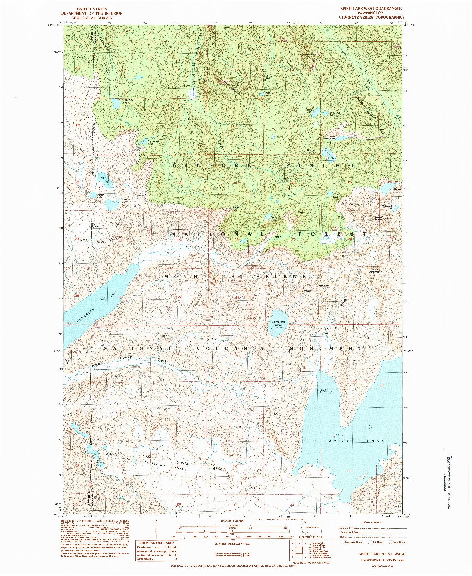 USGS 1:24000-SCALE QUADRANGLE FOR SPIRIT LAKE WEST, WA 1984