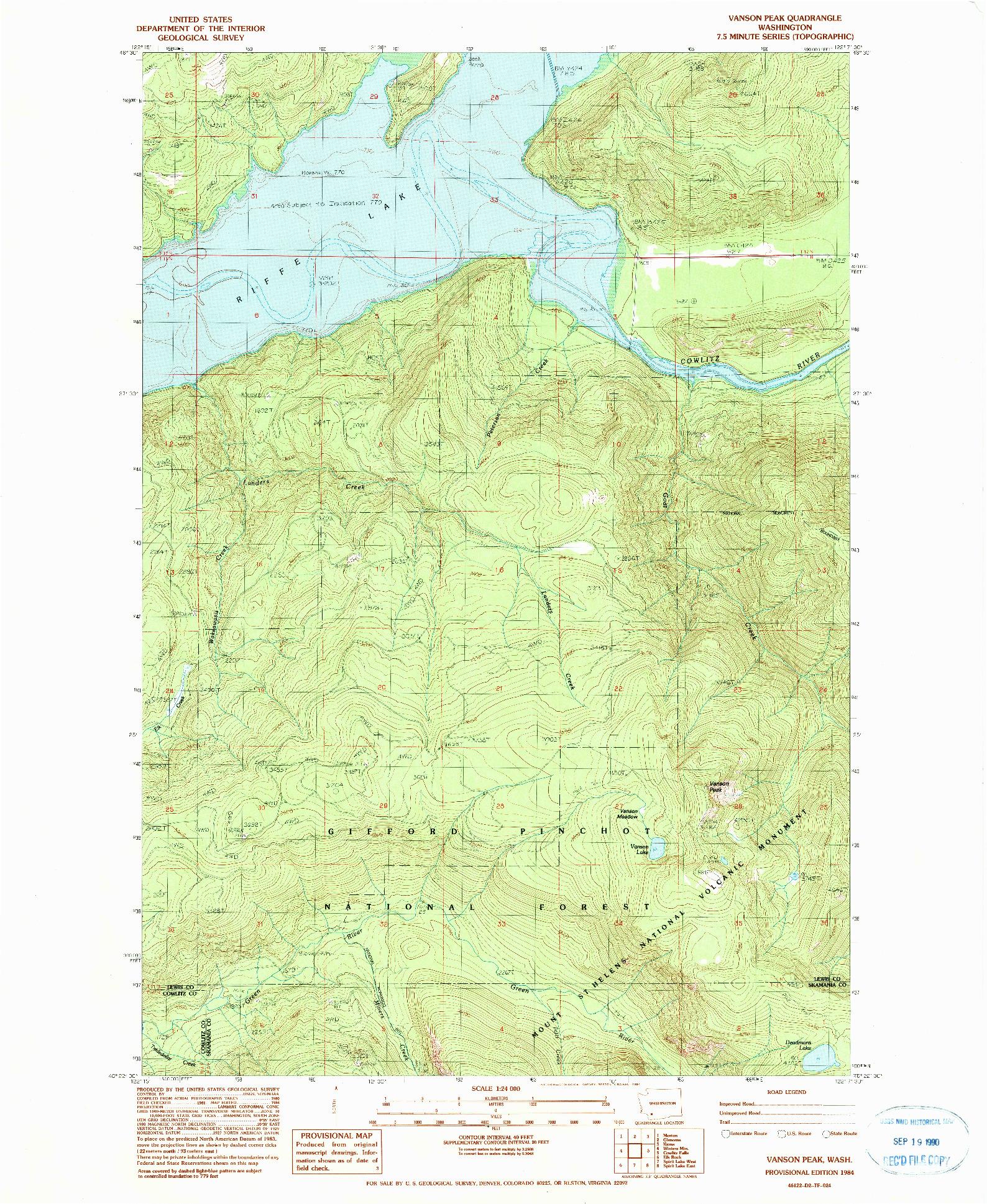 USGS 1:24000-SCALE QUADRANGLE FOR VANSON PEAK, WA 1984
