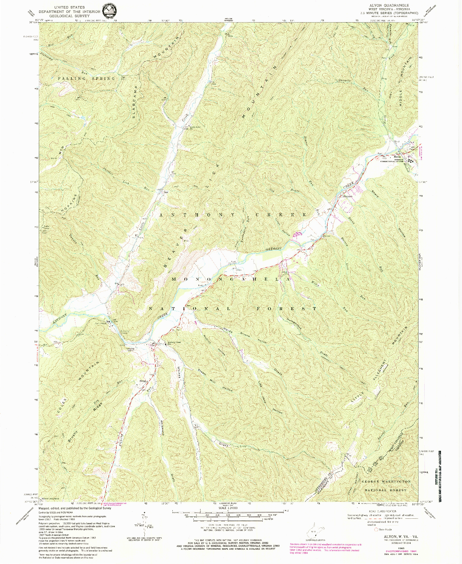 USGS 1:24000-SCALE QUADRANGLE FOR ALVON, WV 1969
