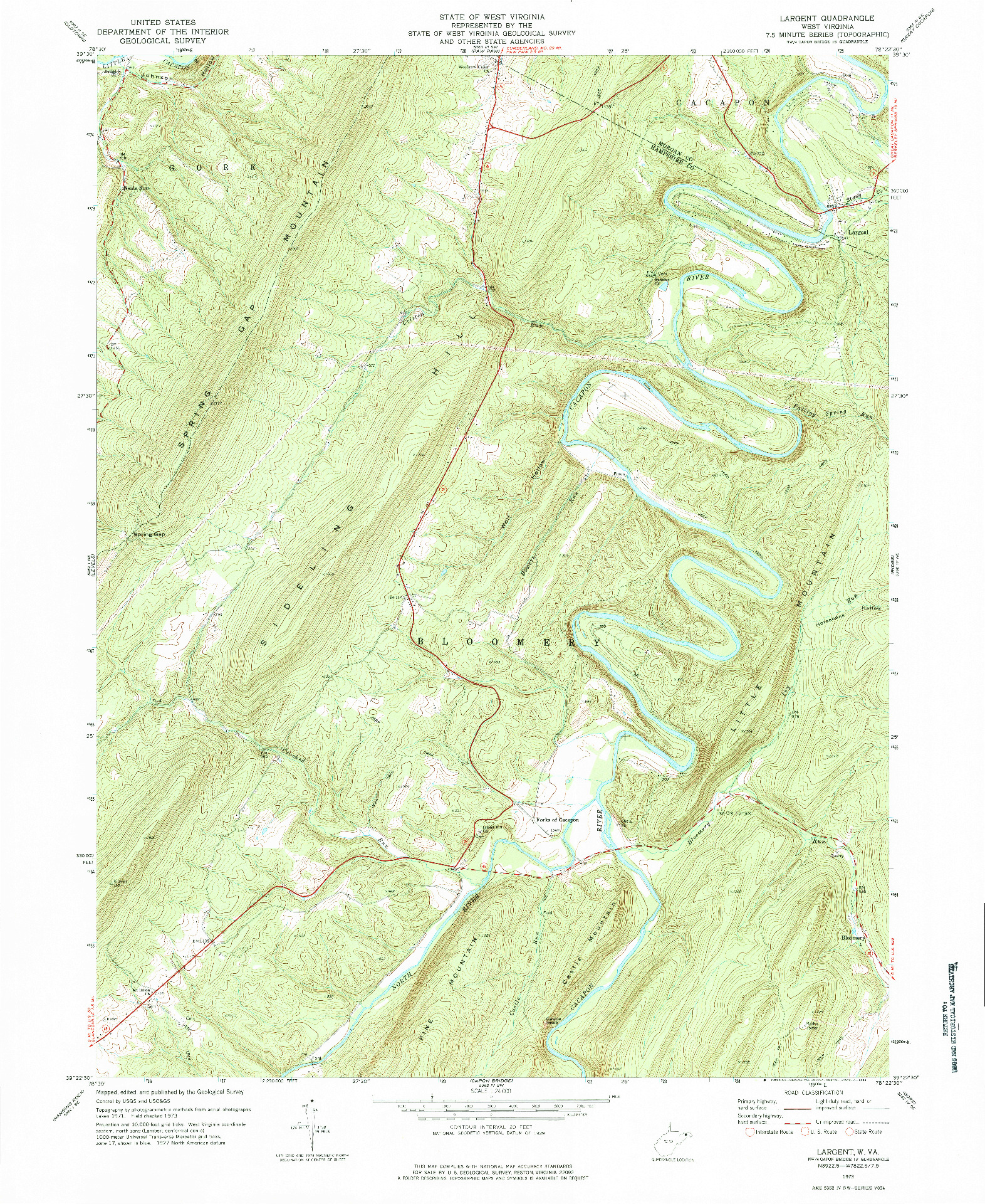 USGS 1:24000-SCALE QUADRANGLE FOR LARGENT, WV 1973
