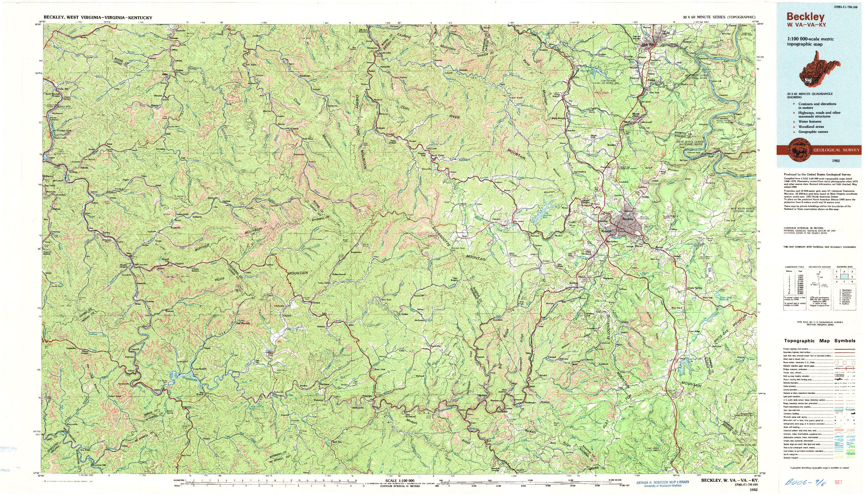 USGS 1:100000-SCALE QUADRANGLE FOR BECKLEY, WV 1982