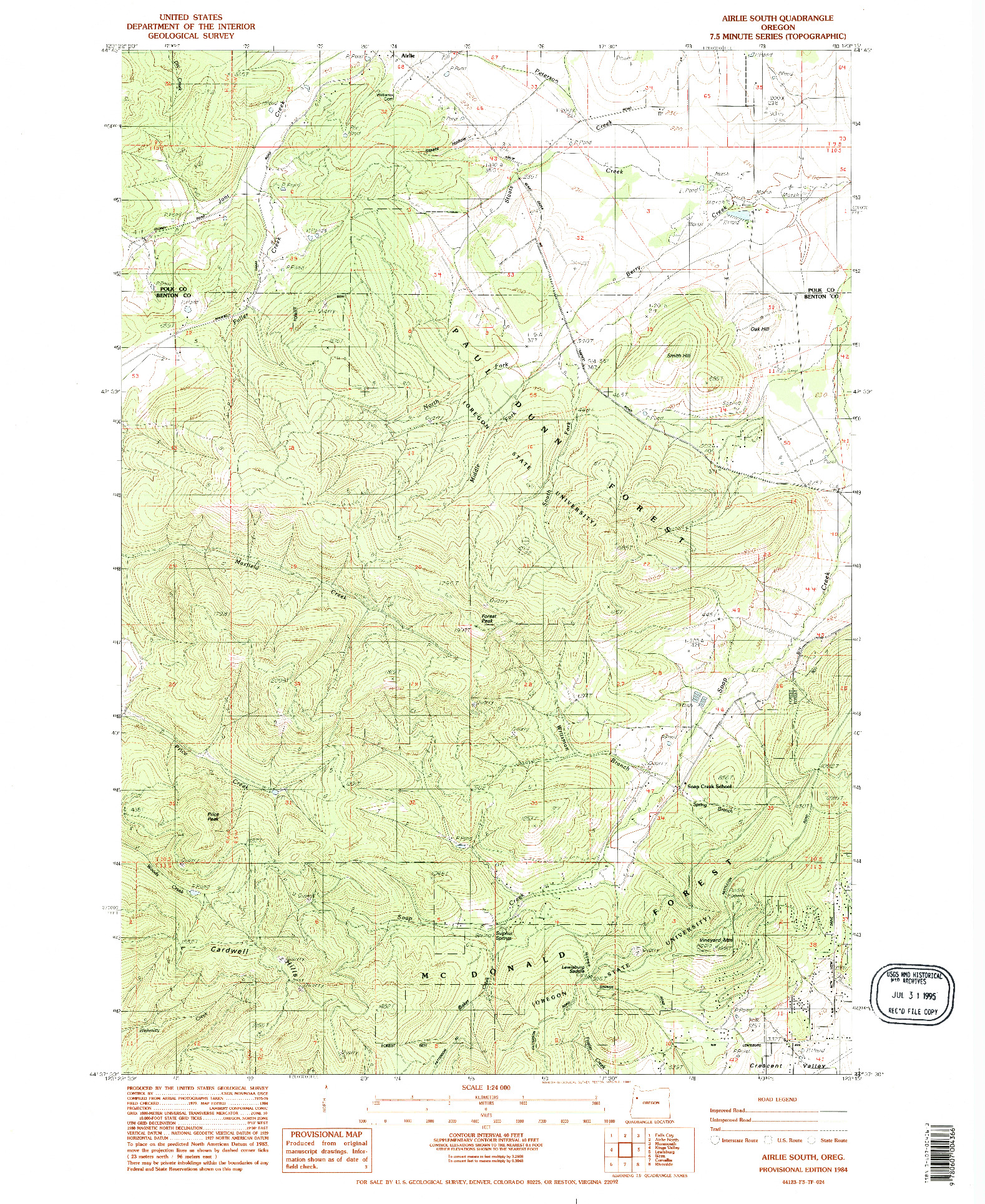 USGS 1:24000-SCALE QUADRANGLE FOR AIRLIE SOUTH, OR 1984
