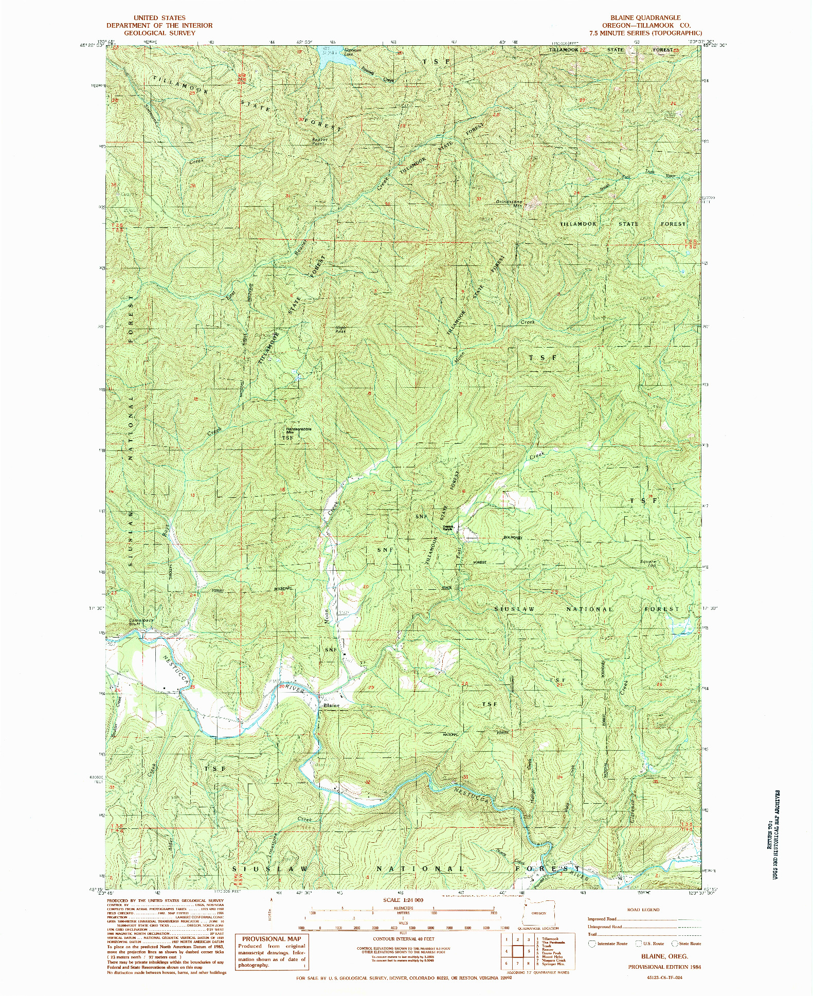USGS 1:24000-SCALE QUADRANGLE FOR BLAINE, OR 1984