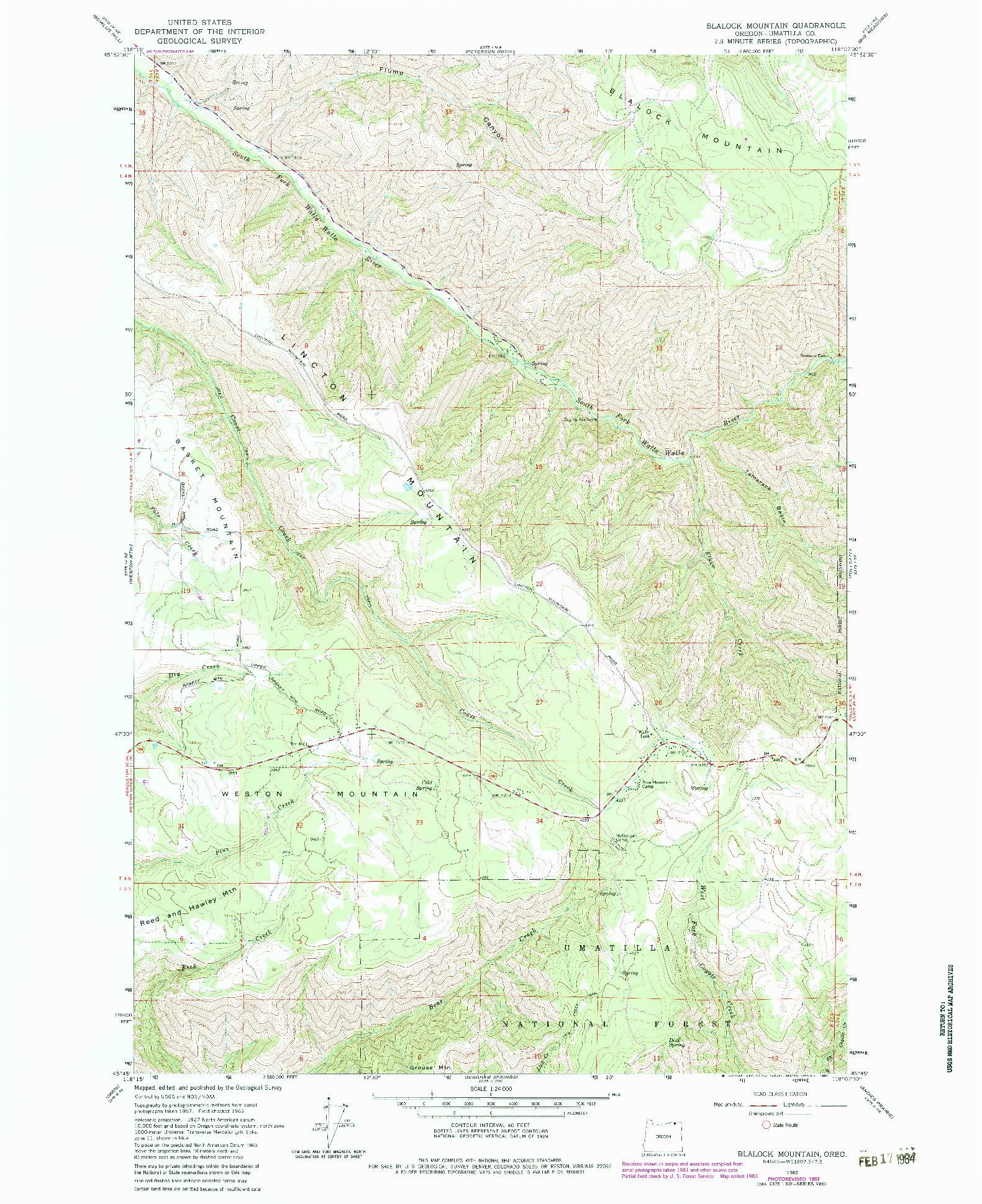 USGS 1:24000-SCALE QUADRANGLE FOR BLALOCK MOUNTAIN, OR 1963