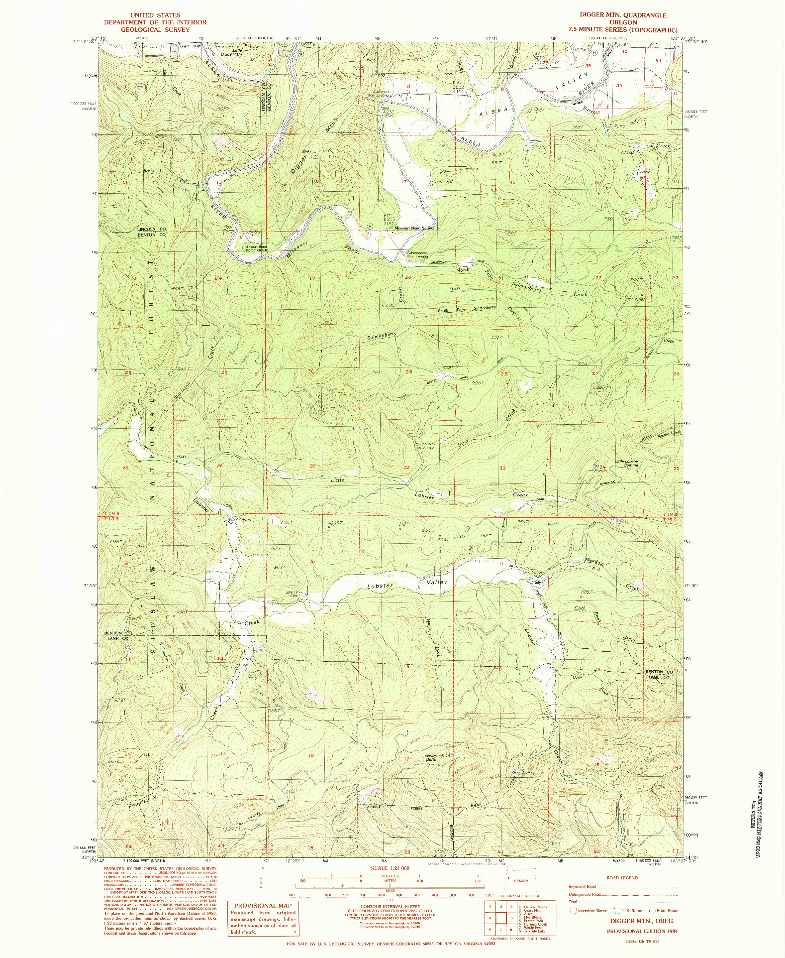 USGS 1:24000-SCALE QUADRANGLE FOR DIGGER MTN, OR 1984