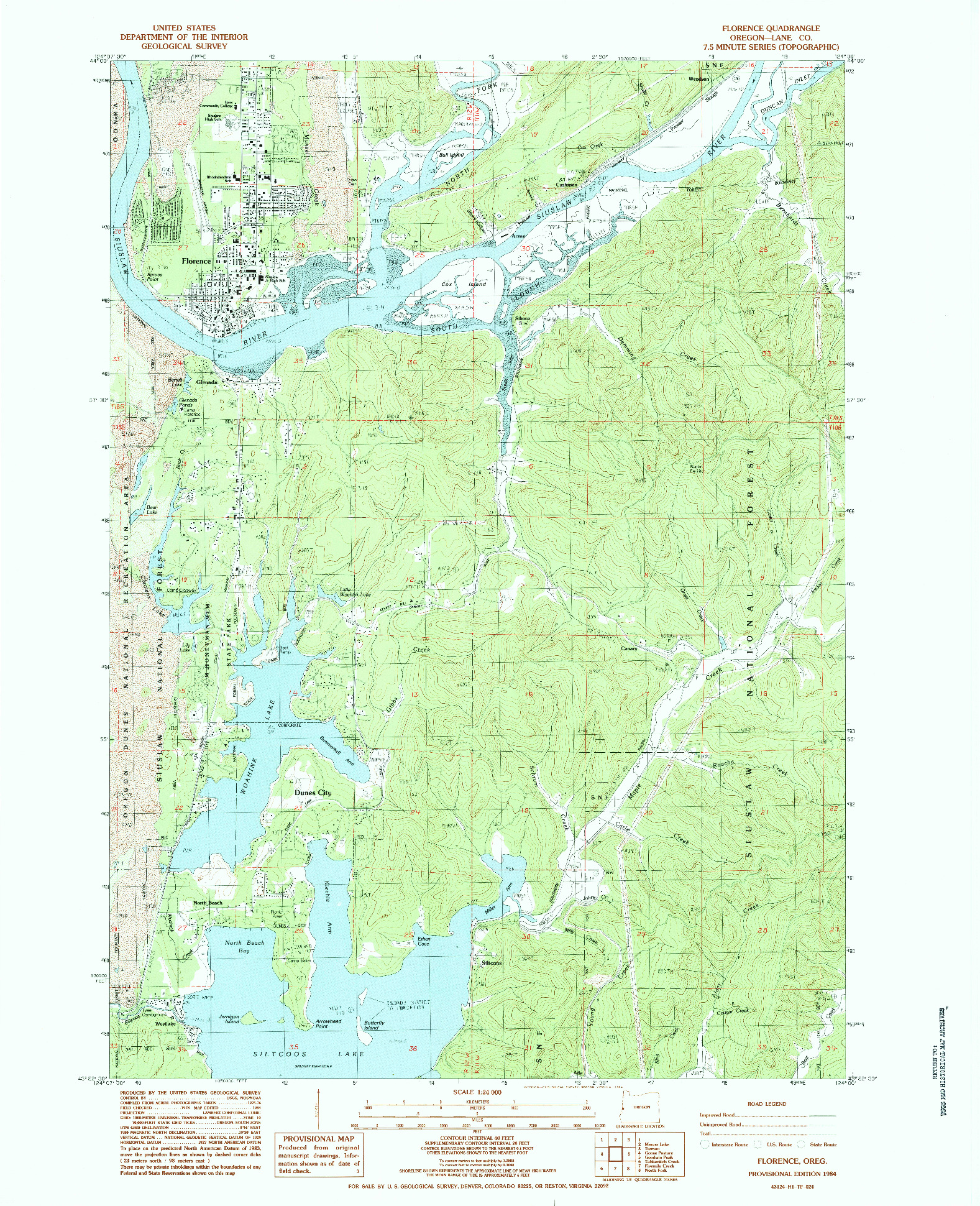 USGS 1:24000-SCALE QUADRANGLE FOR FLORENCE, OR 1984