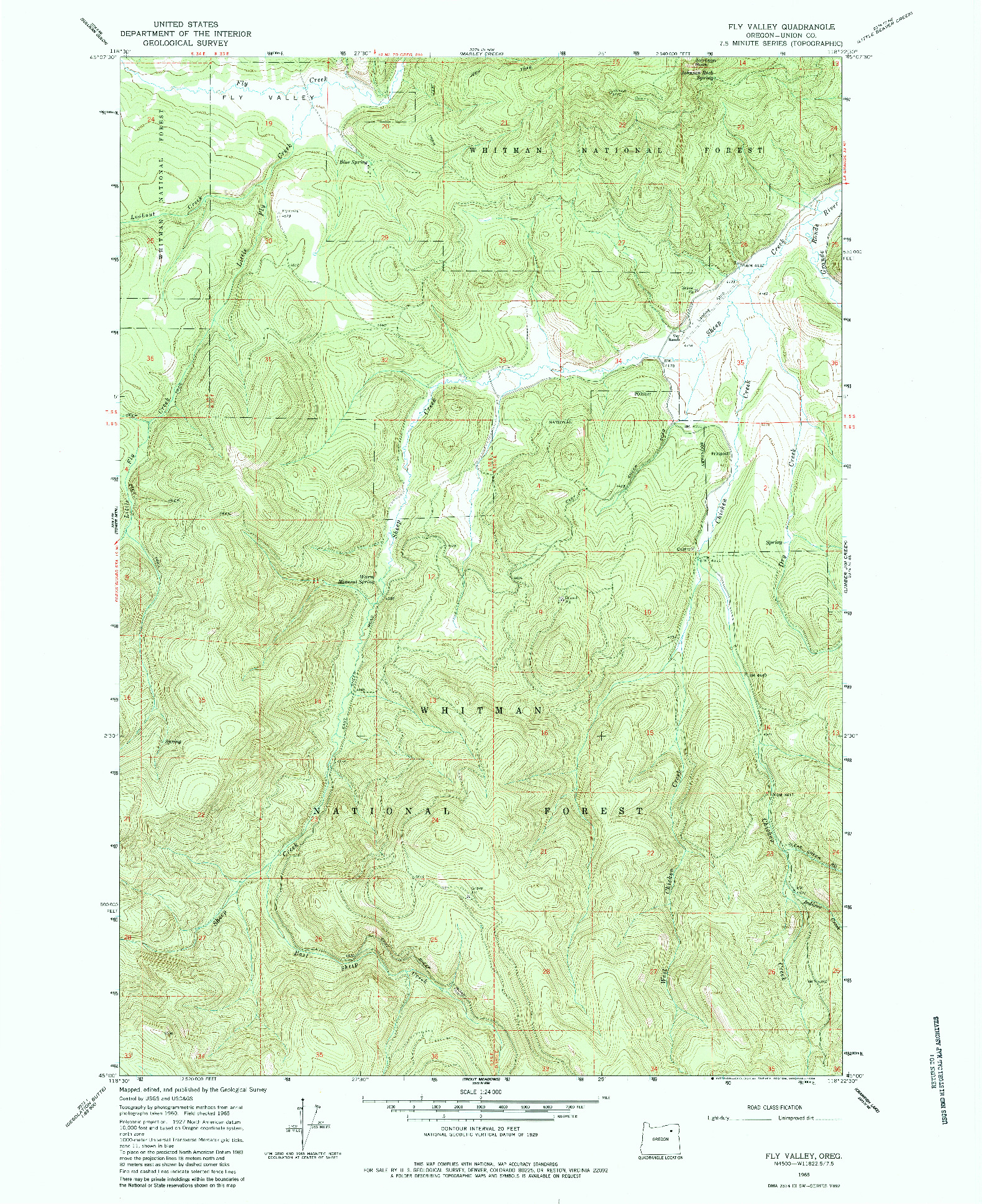 USGS 1:24000-SCALE QUADRANGLE FOR FLY VALLEY, OR 1965