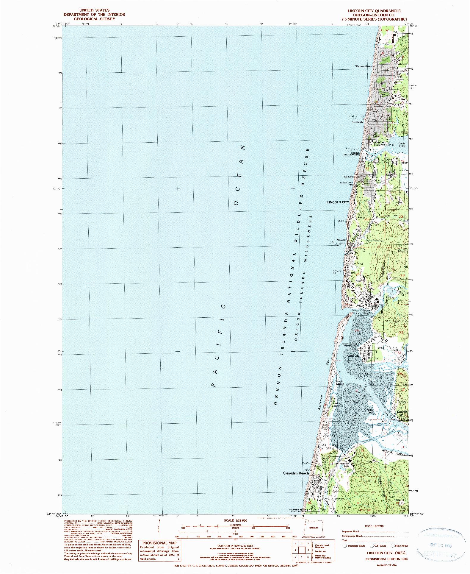 USGS 1:24000-SCALE QUADRANGLE FOR LINCOLN CITY, OR 1984