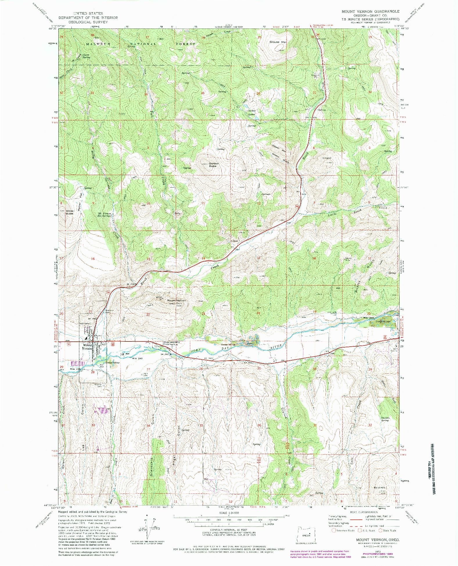 USGS 1:24000-SCALE QUADRANGLE FOR MOUNT VERNON, OR 1972